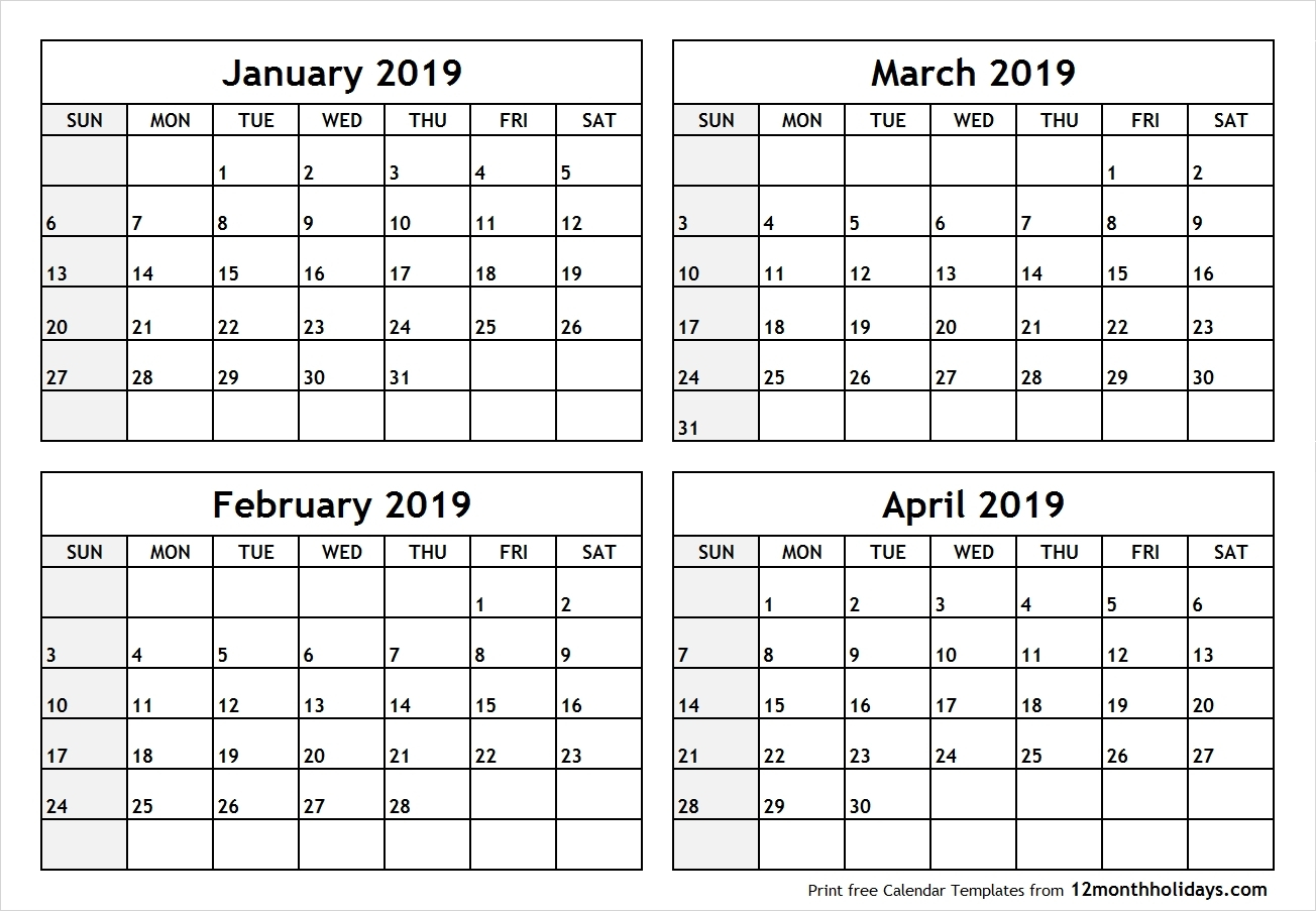 Blank Calendar 4 Months Per Page