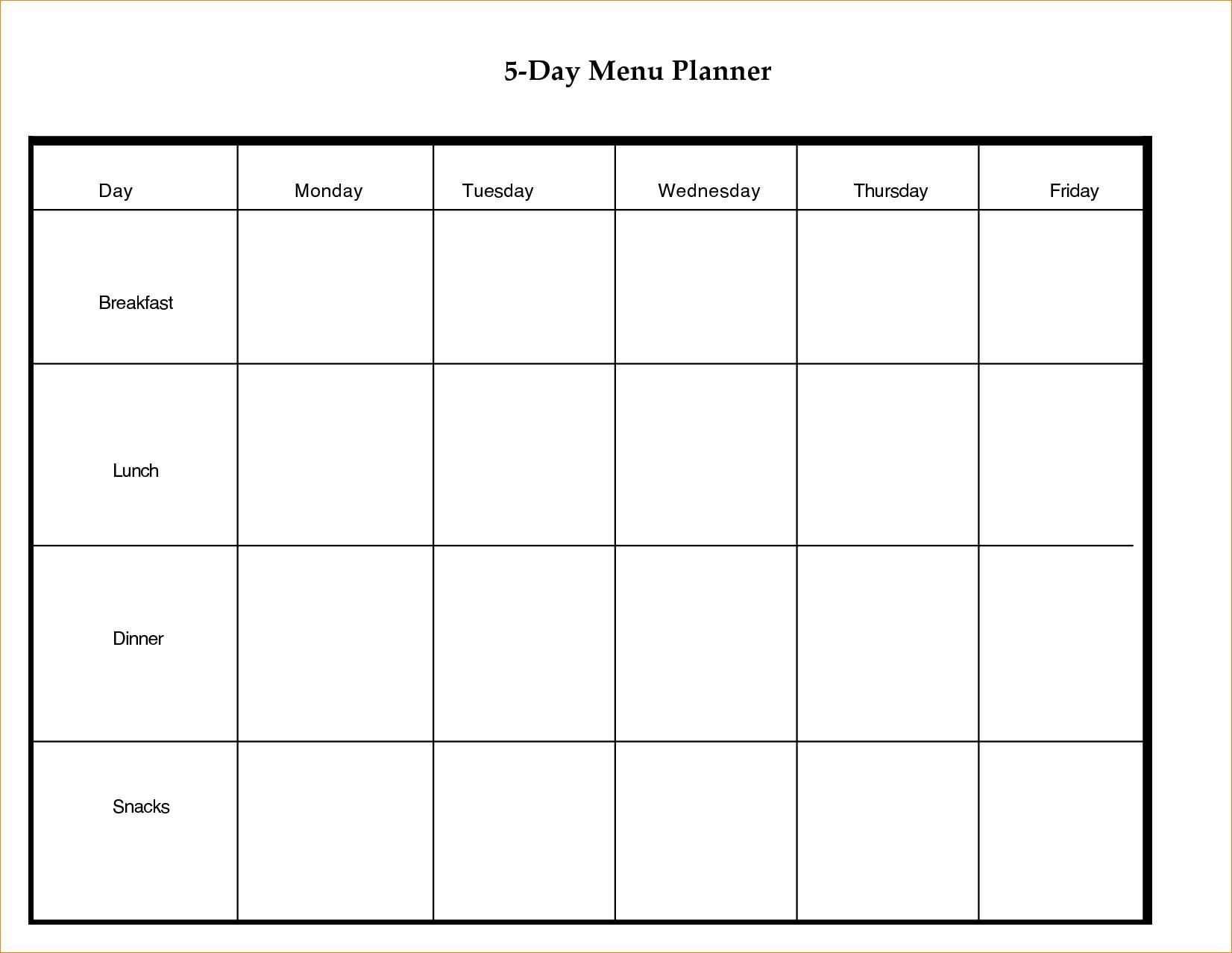 Blank Calendar 5 Day Week