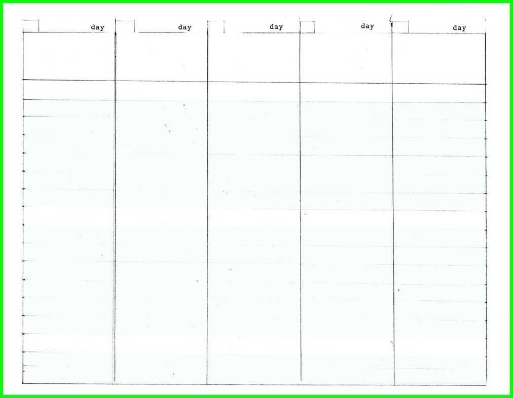 Blank Calendar 5 Weeks