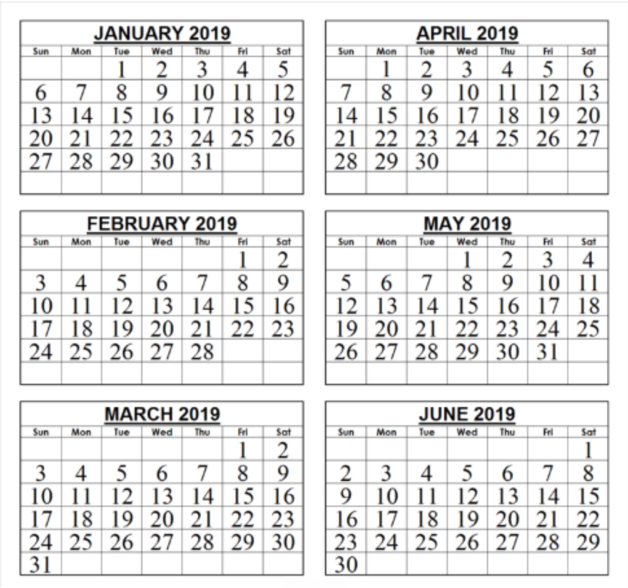 Blank Calendar 6 Months