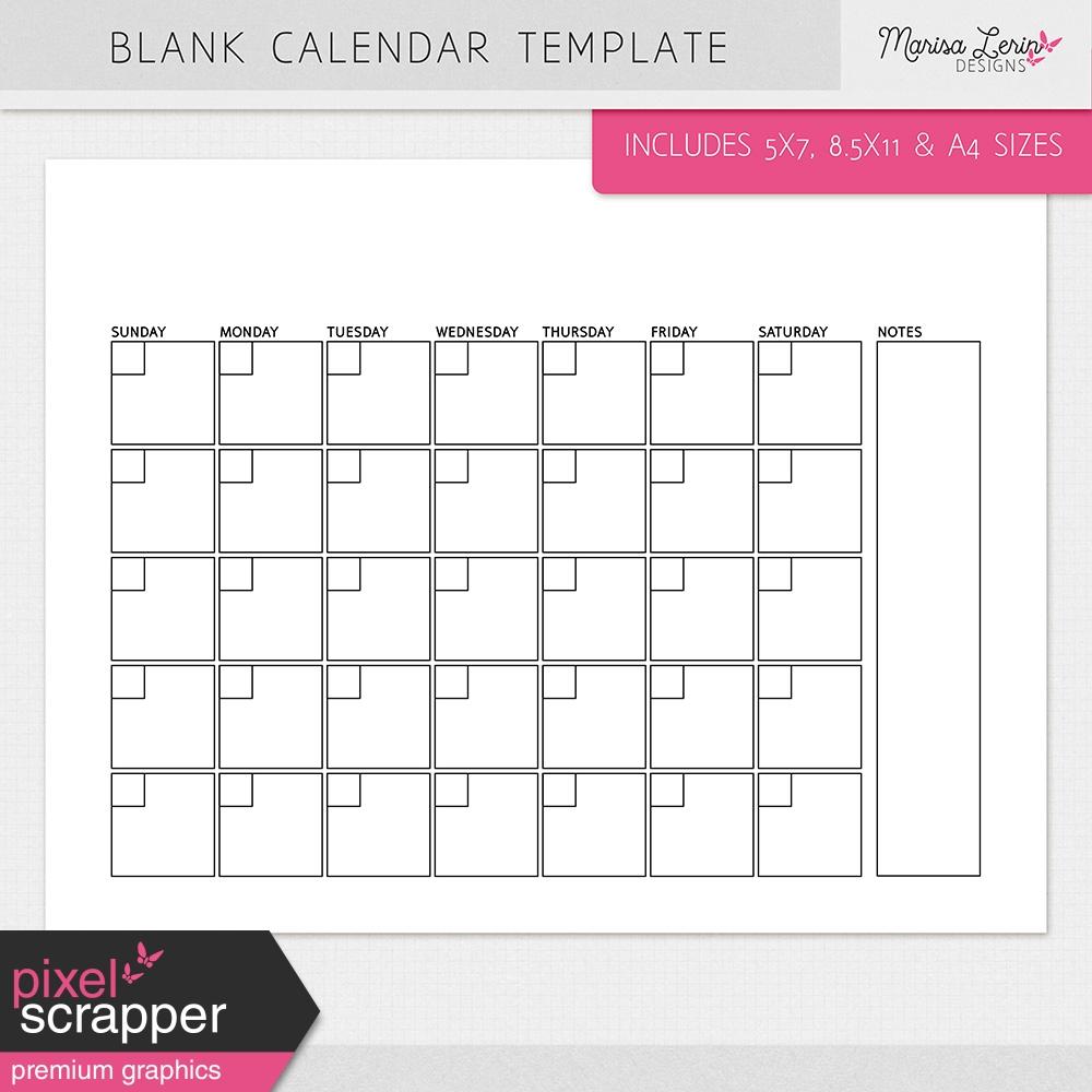 Blank Calendar 8.5 X 11