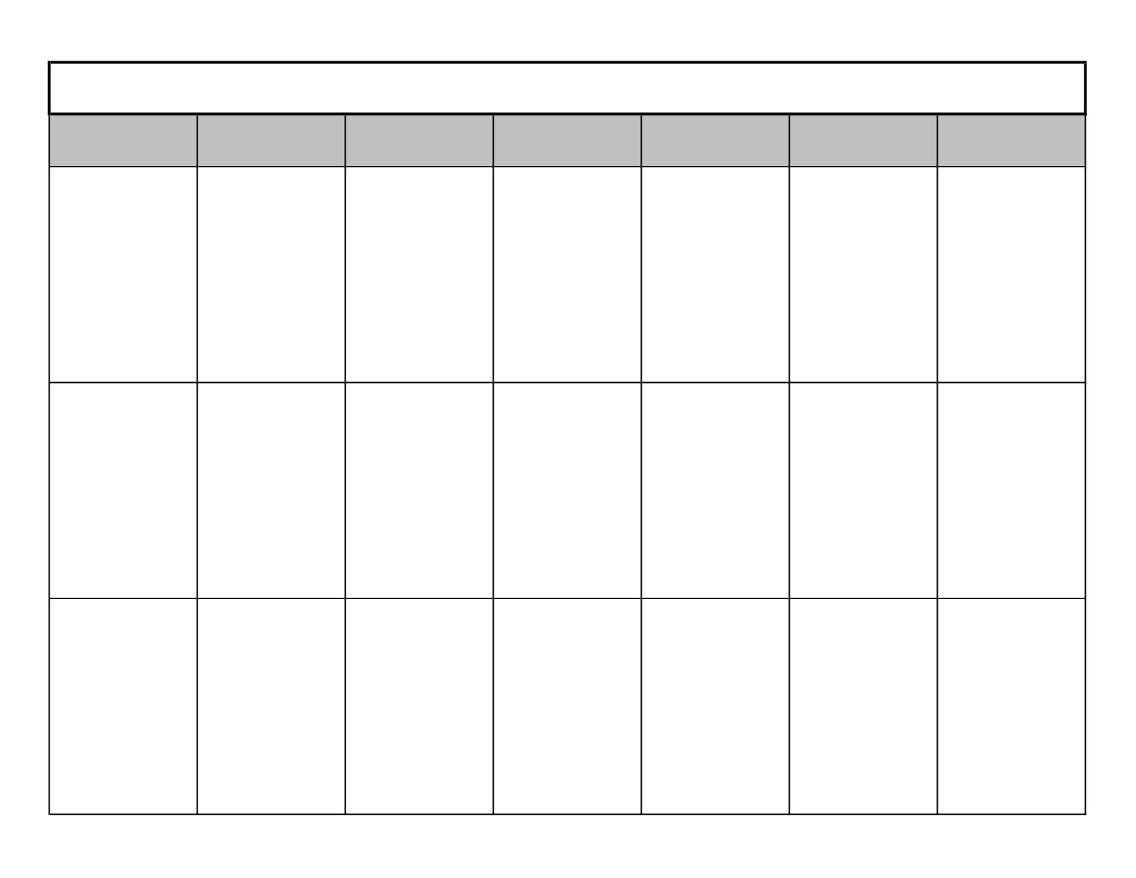 Blank Calendar 8 Weeks