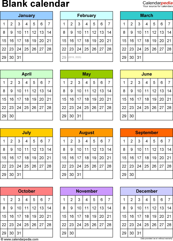 Blank Calendar - 9 Free Printable Microsoft Word Templates