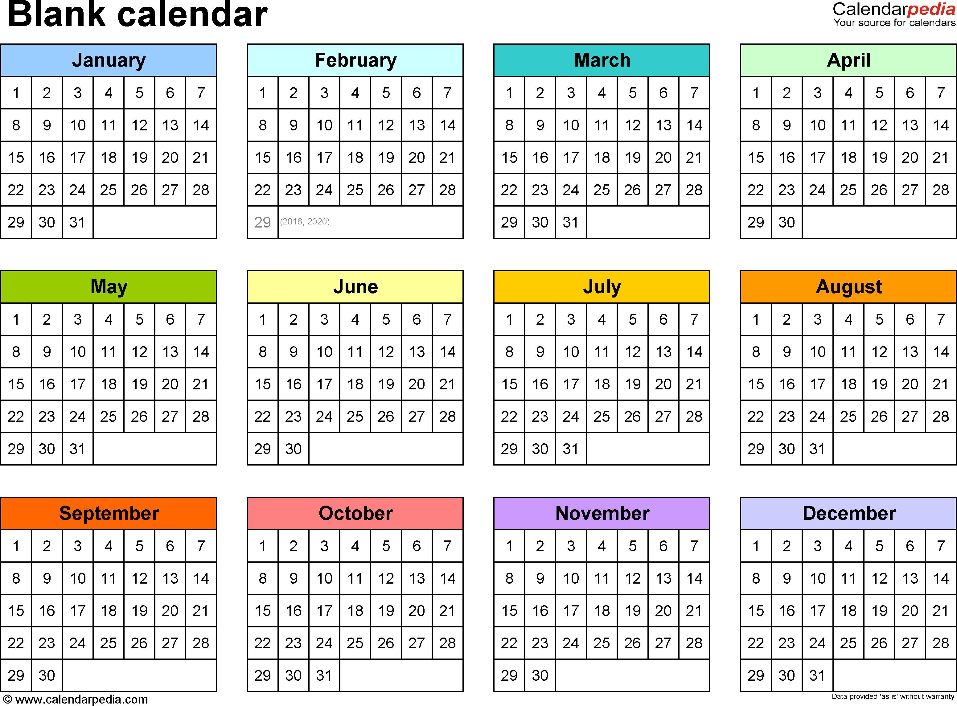 Blank Calendar - 9 Free Printable Pdf Templates