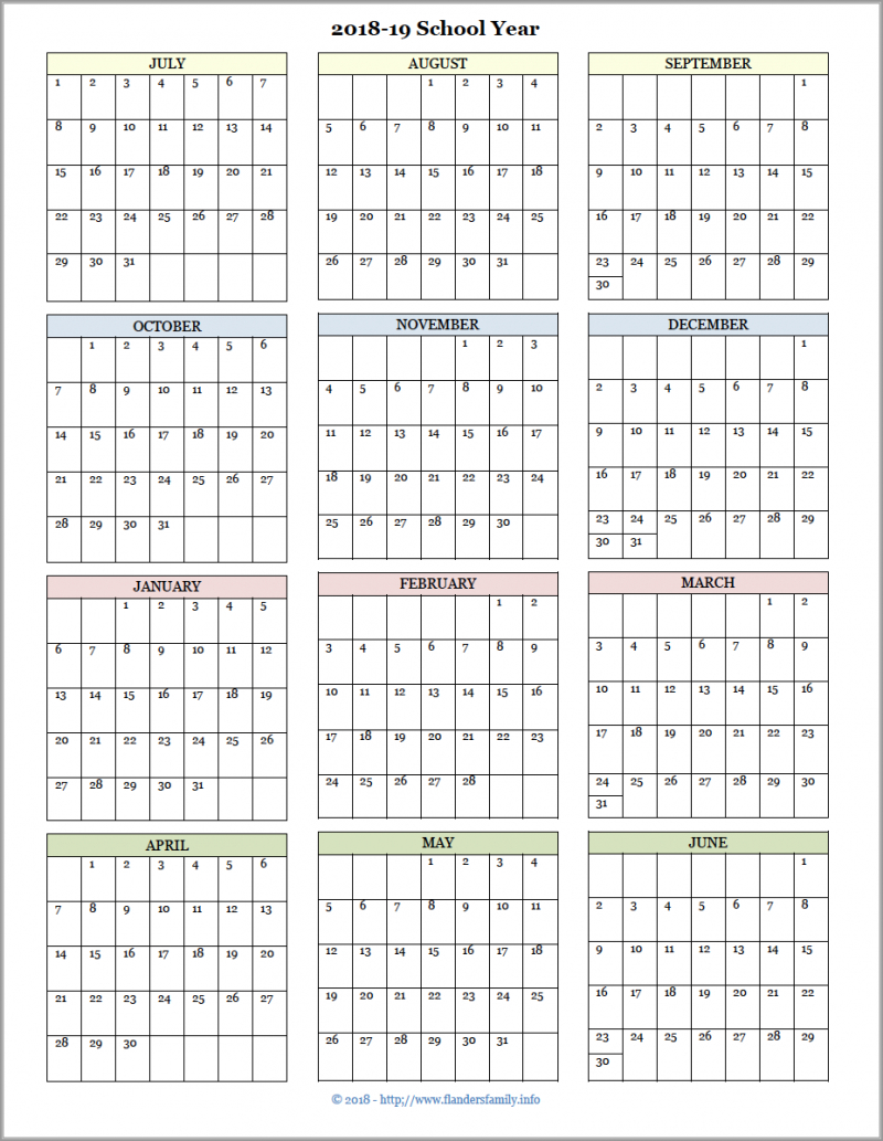 Blank Calendar Academic