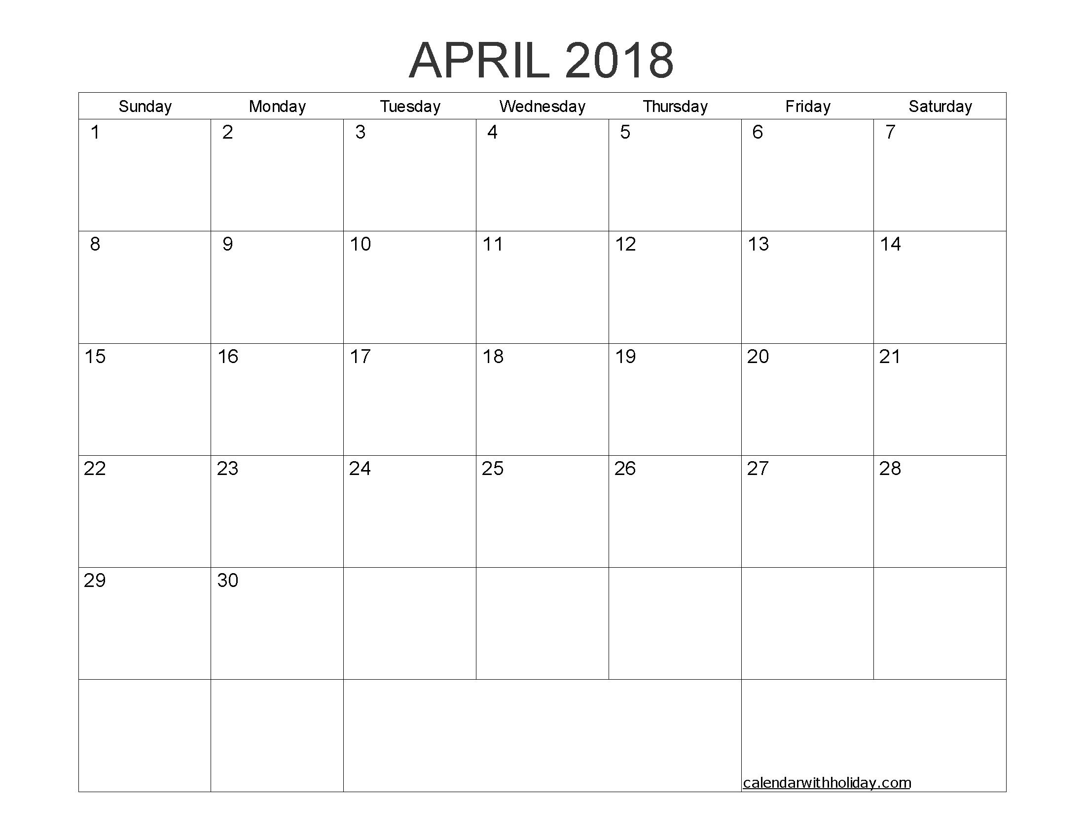 Blank Calendar April 2018 Printable 1 Month Calendar Template
