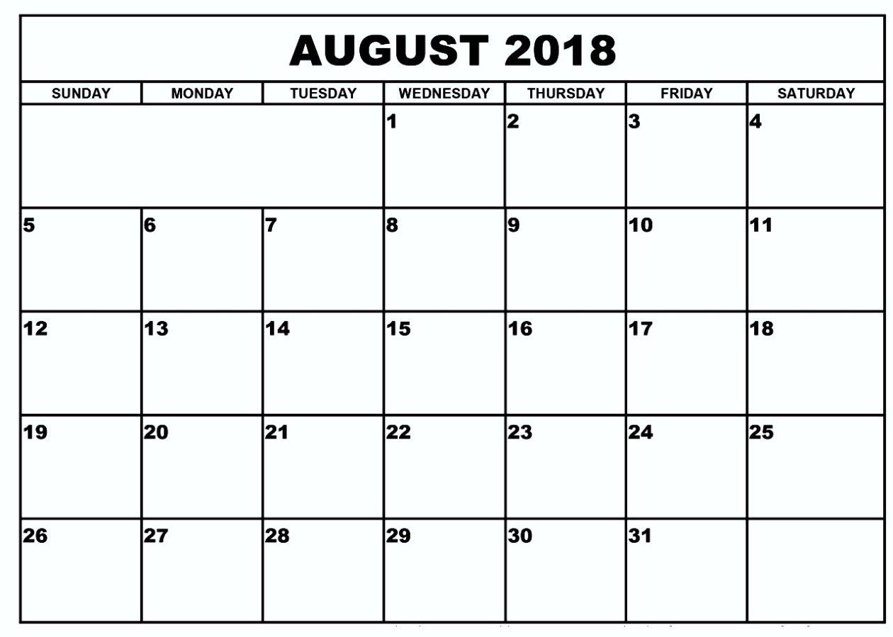Blank Calendar August 2018Week Or Month