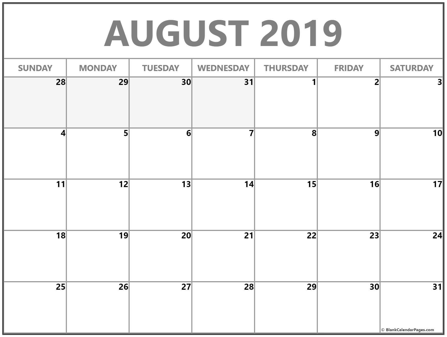 Blank Calendar By Month