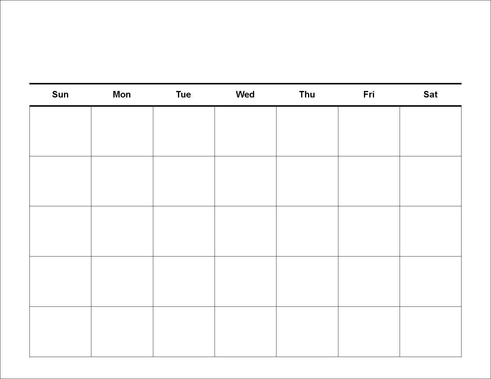 Blank Calendar Days Of The Week