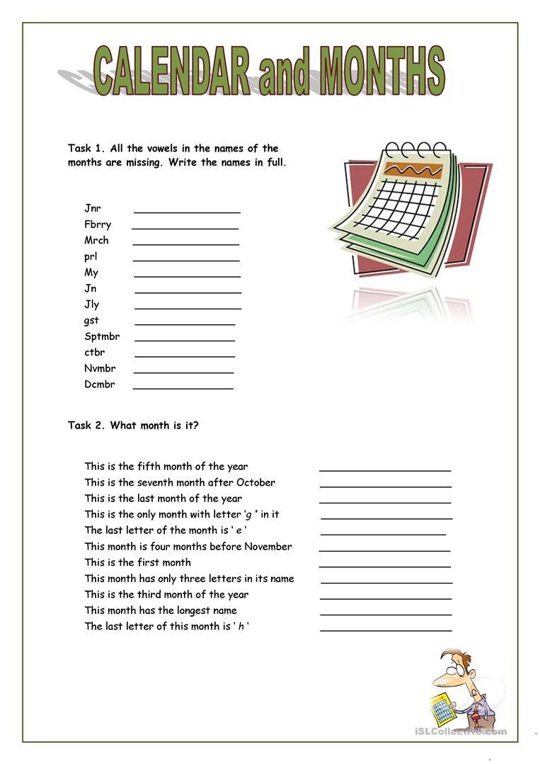 Blank Calendar Esl