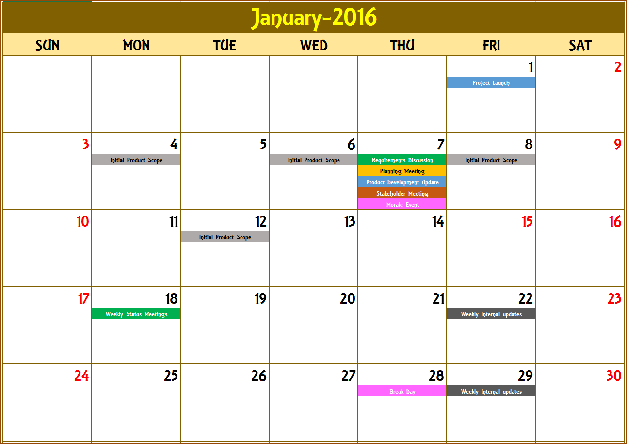 Blank Calendar Excel Format