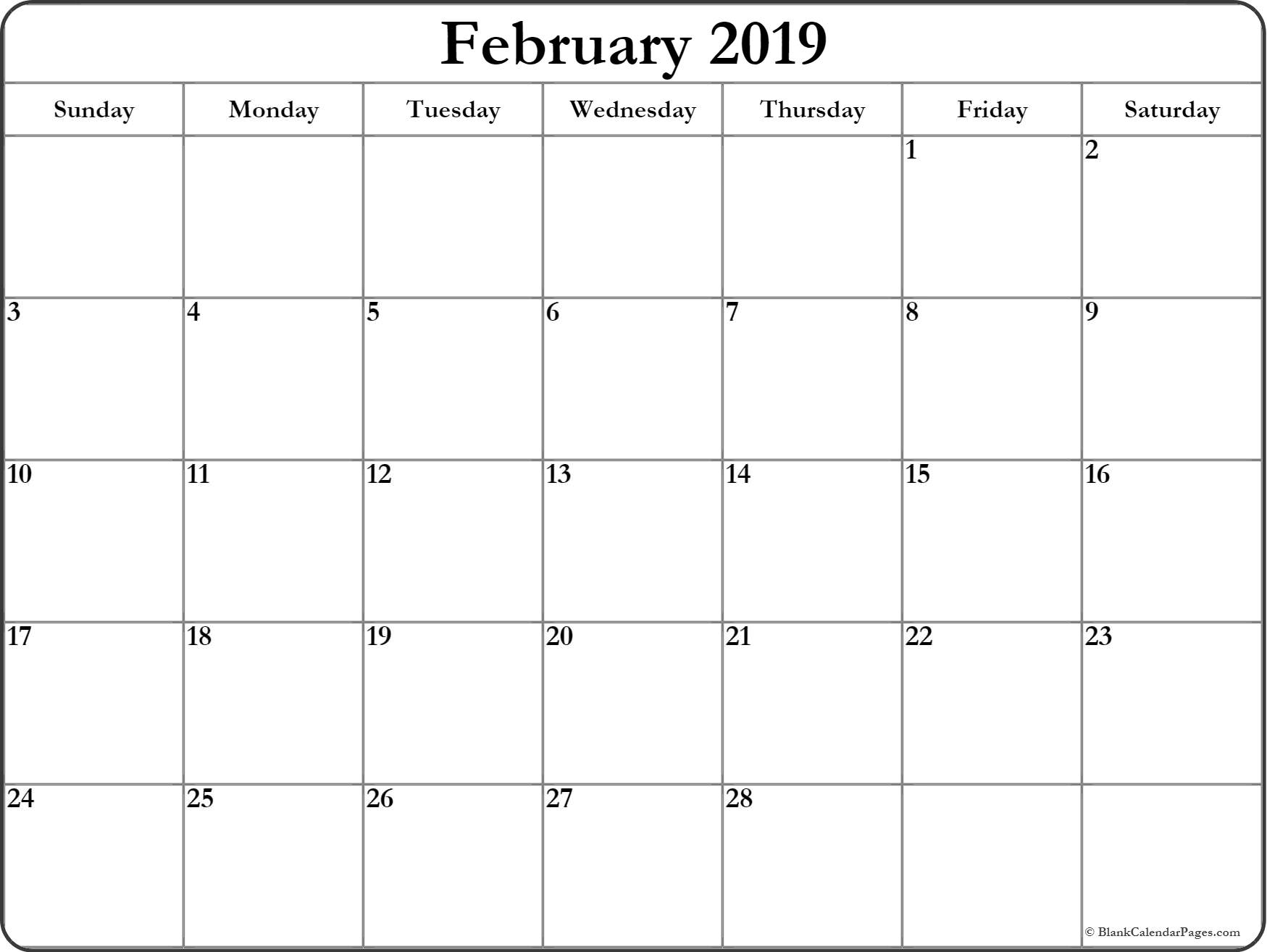 Blank Calendar February 2019 Printable Monthly Template