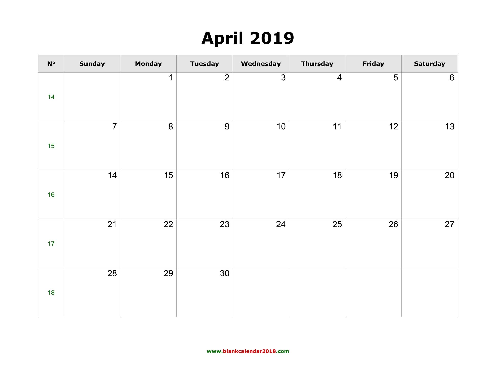 Blank Calendar For April 2019