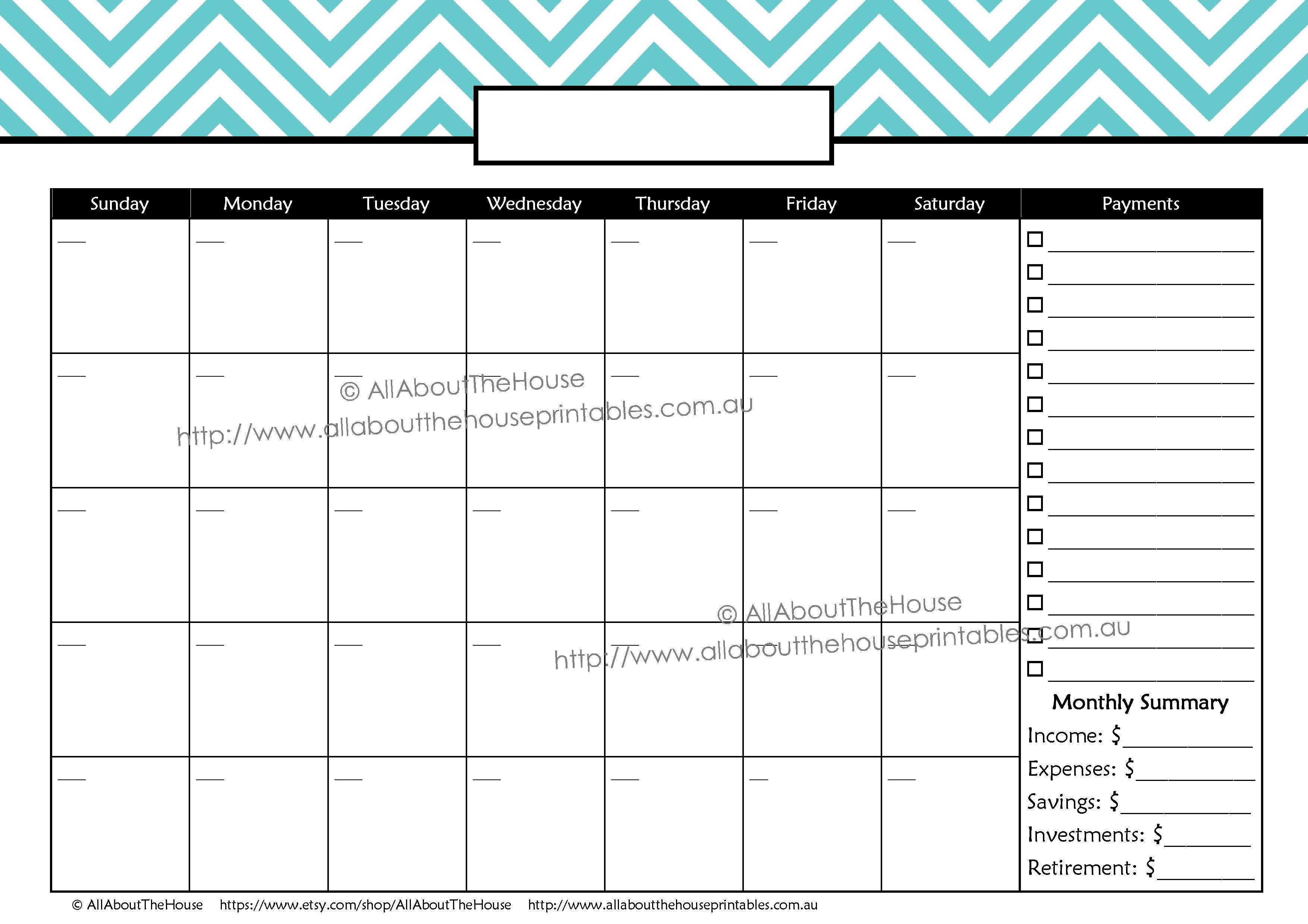 Blank Calendar For Budget