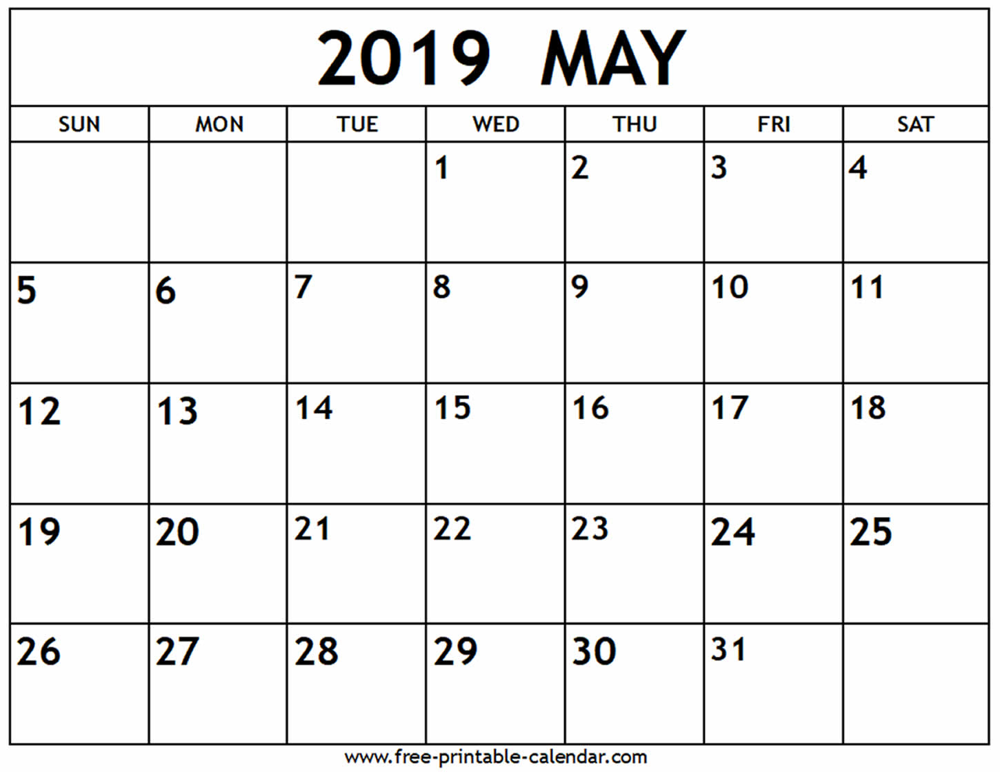 Blank Calendar For May
