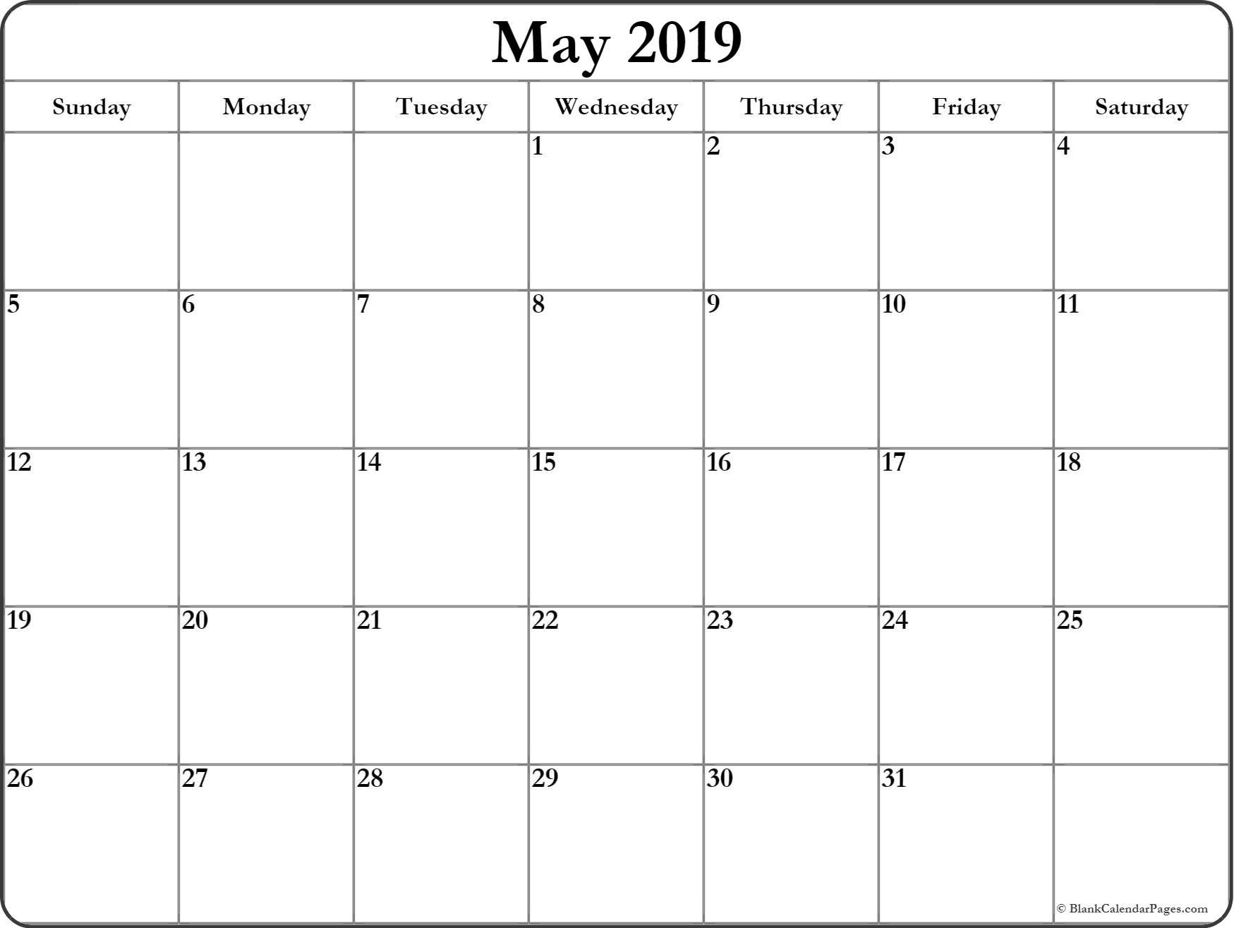 Blank Calendar For May 2019 (Printable And Templates) - Printable