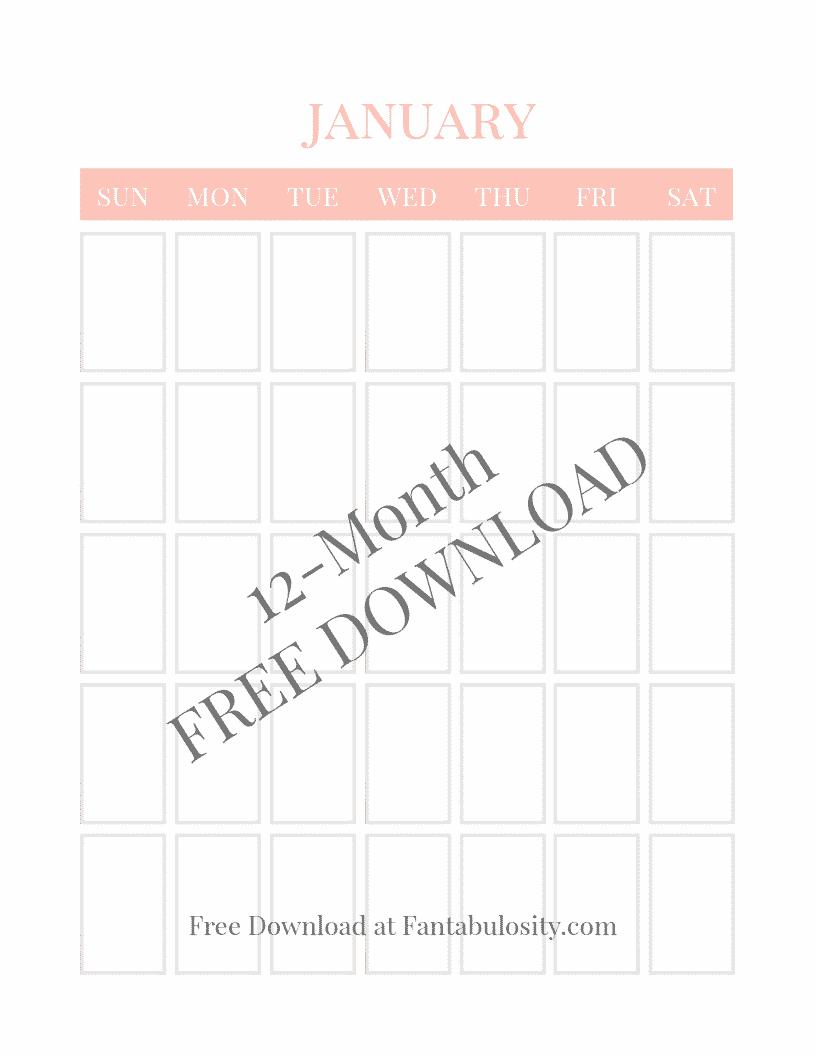 Blank Calendar - Free Vertical Monthly Calendar Printable