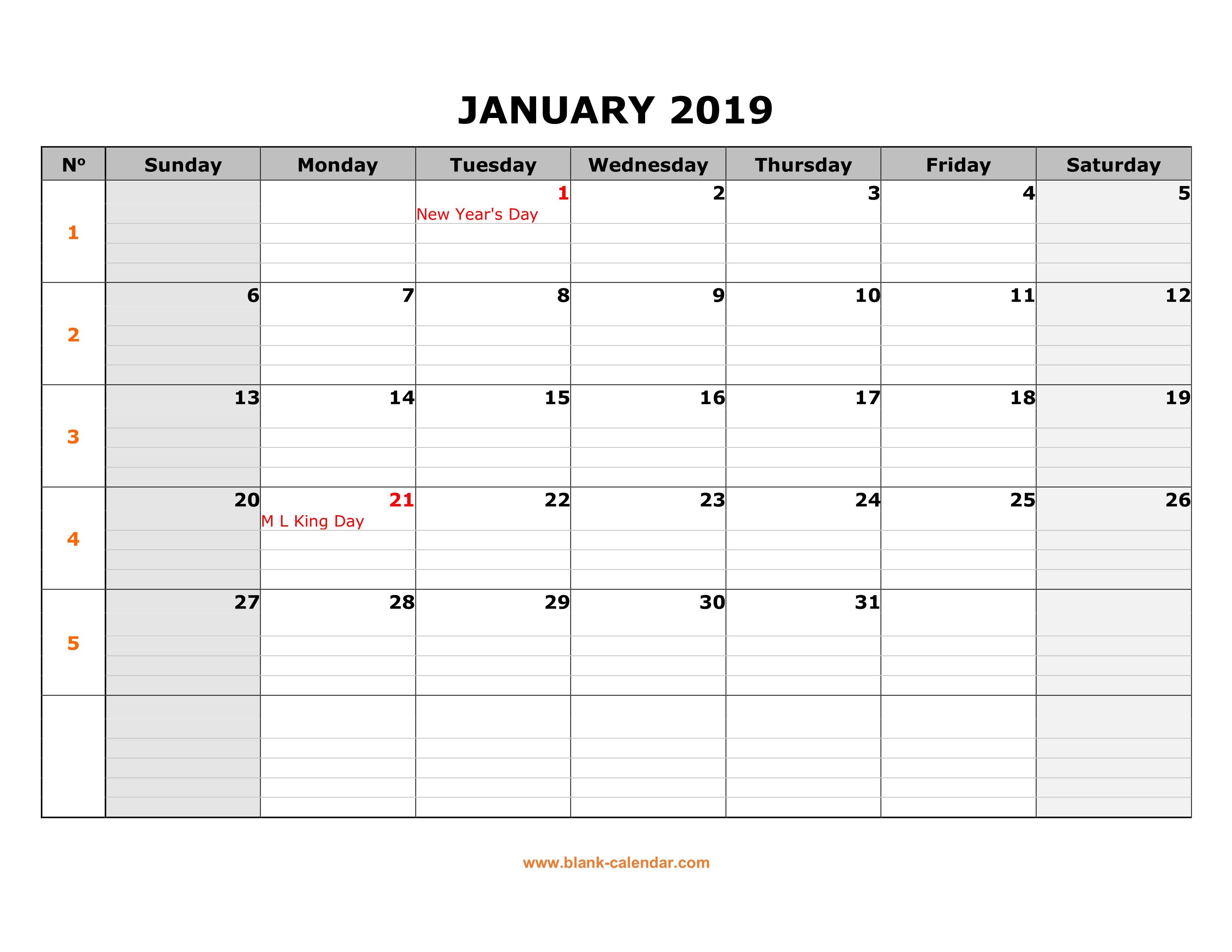Blank Calendar Horizontal