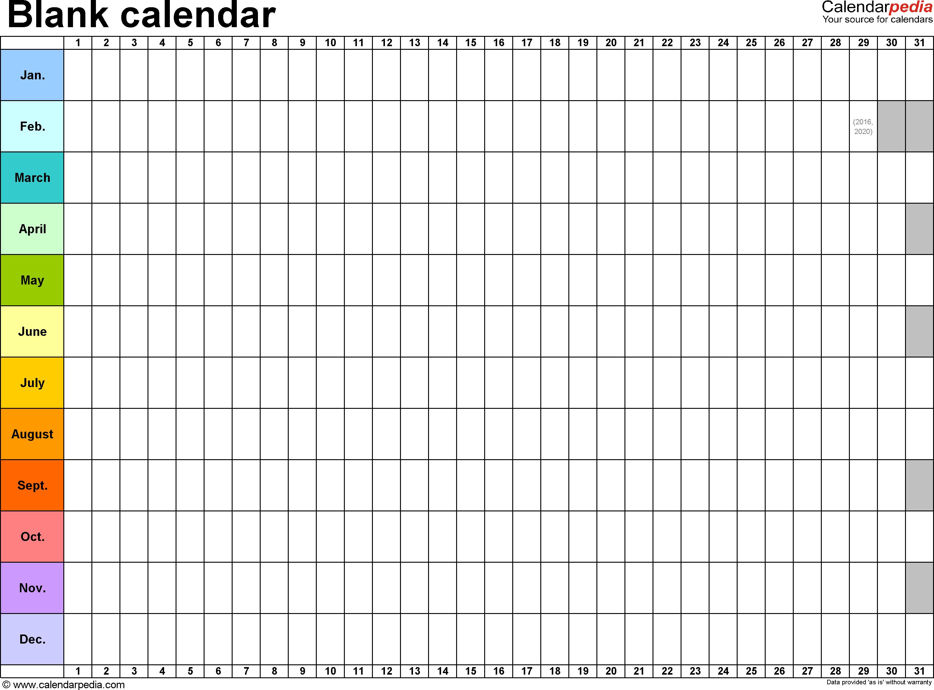 Blank Calendar In Excel