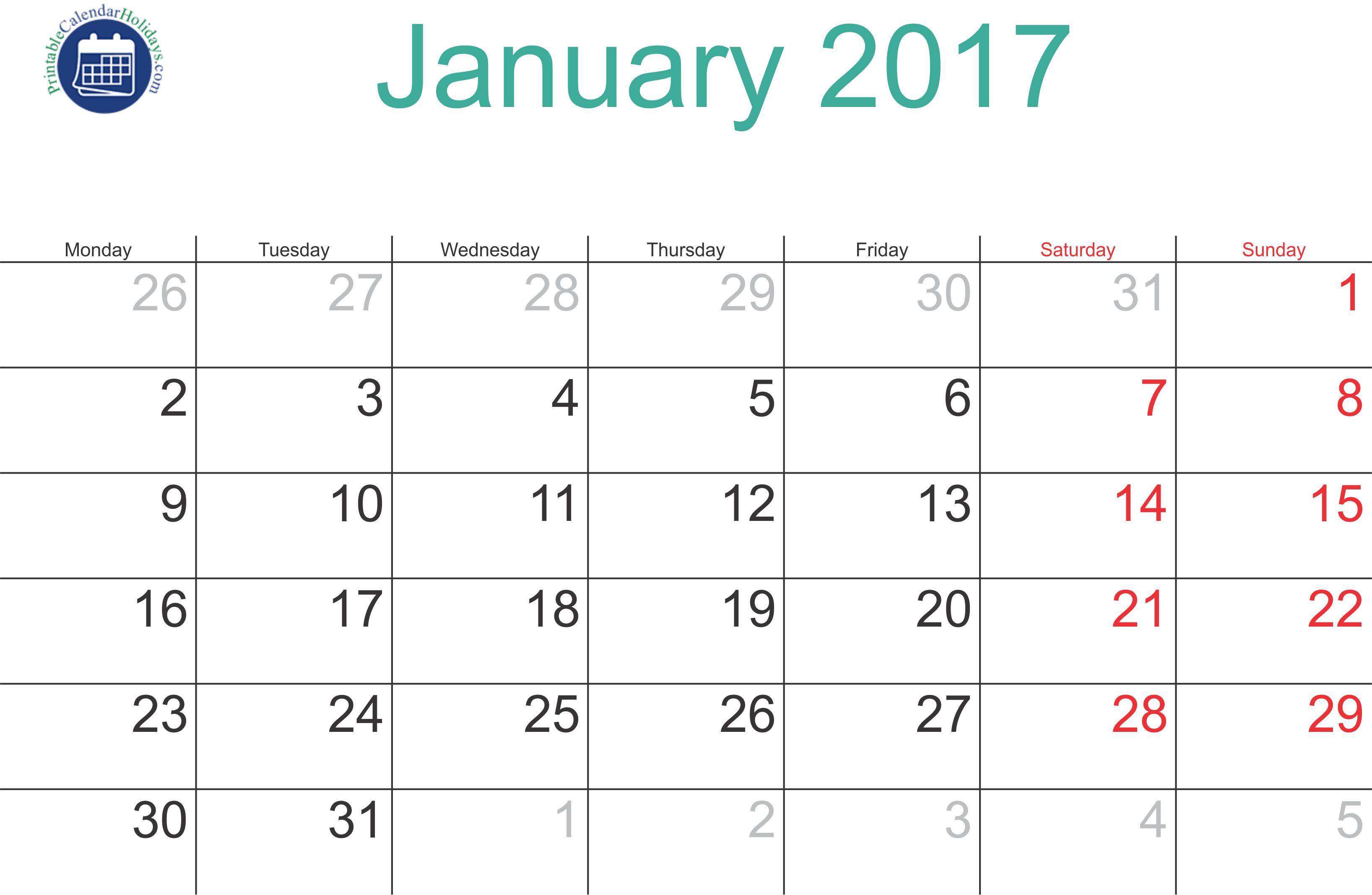 Blank Calendar Jan 19