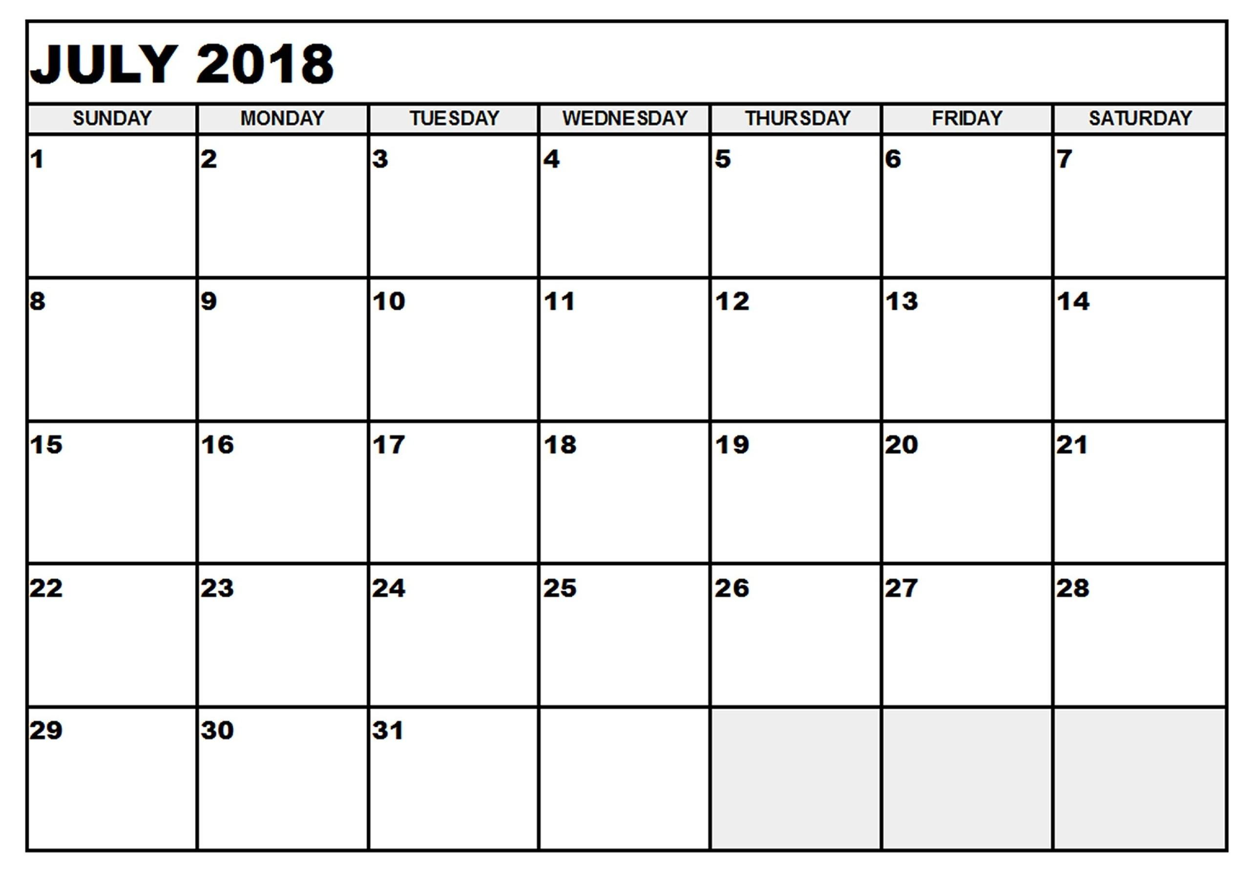 Blank Calendar July 17
