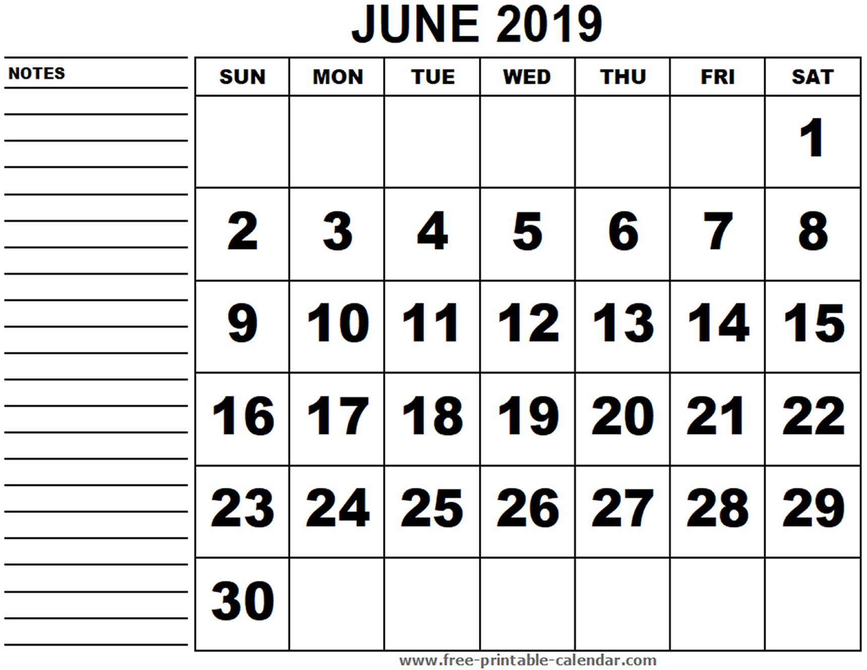 Blank Calendar June 18