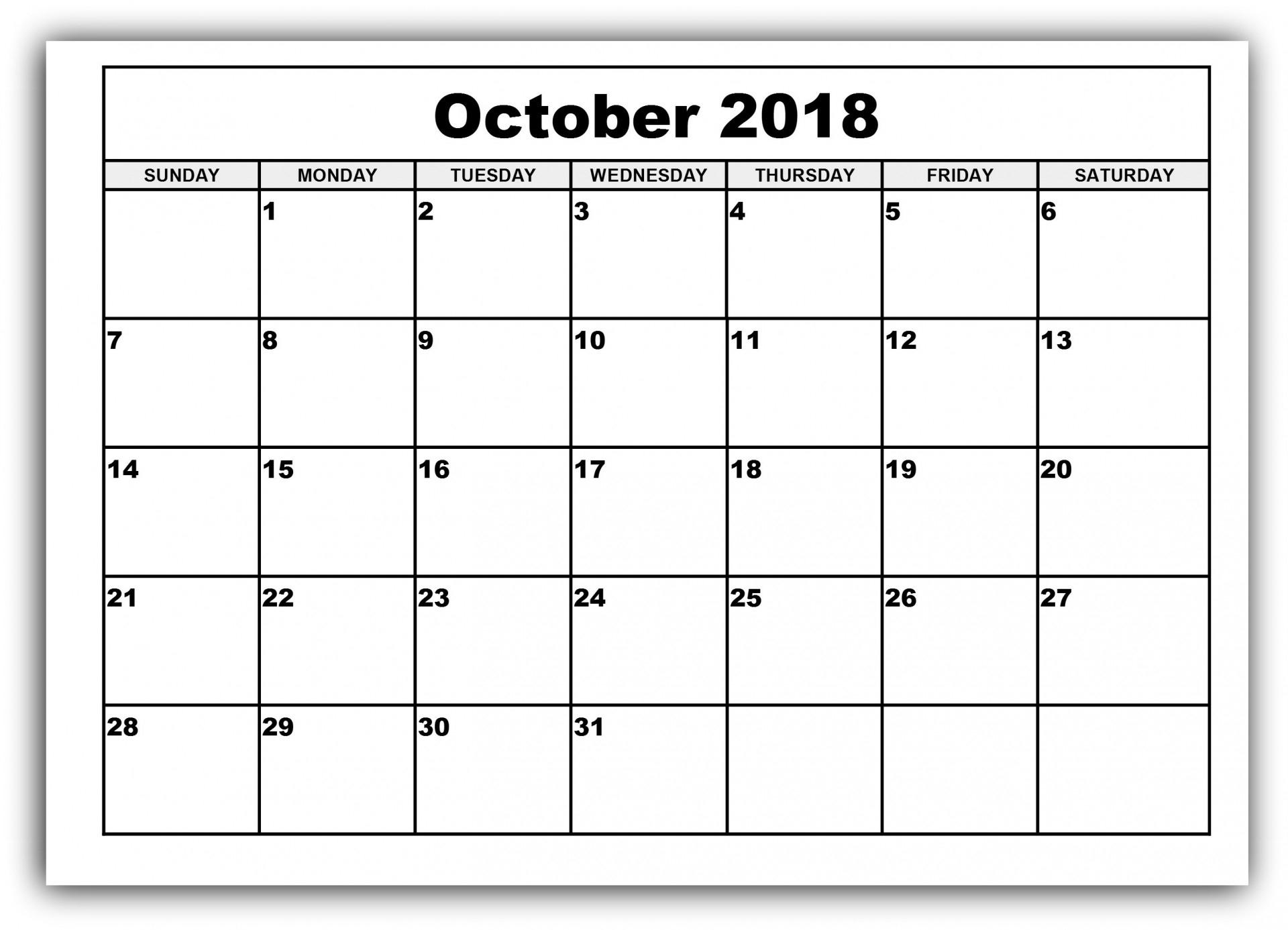 Blank Calendar Kindergarten