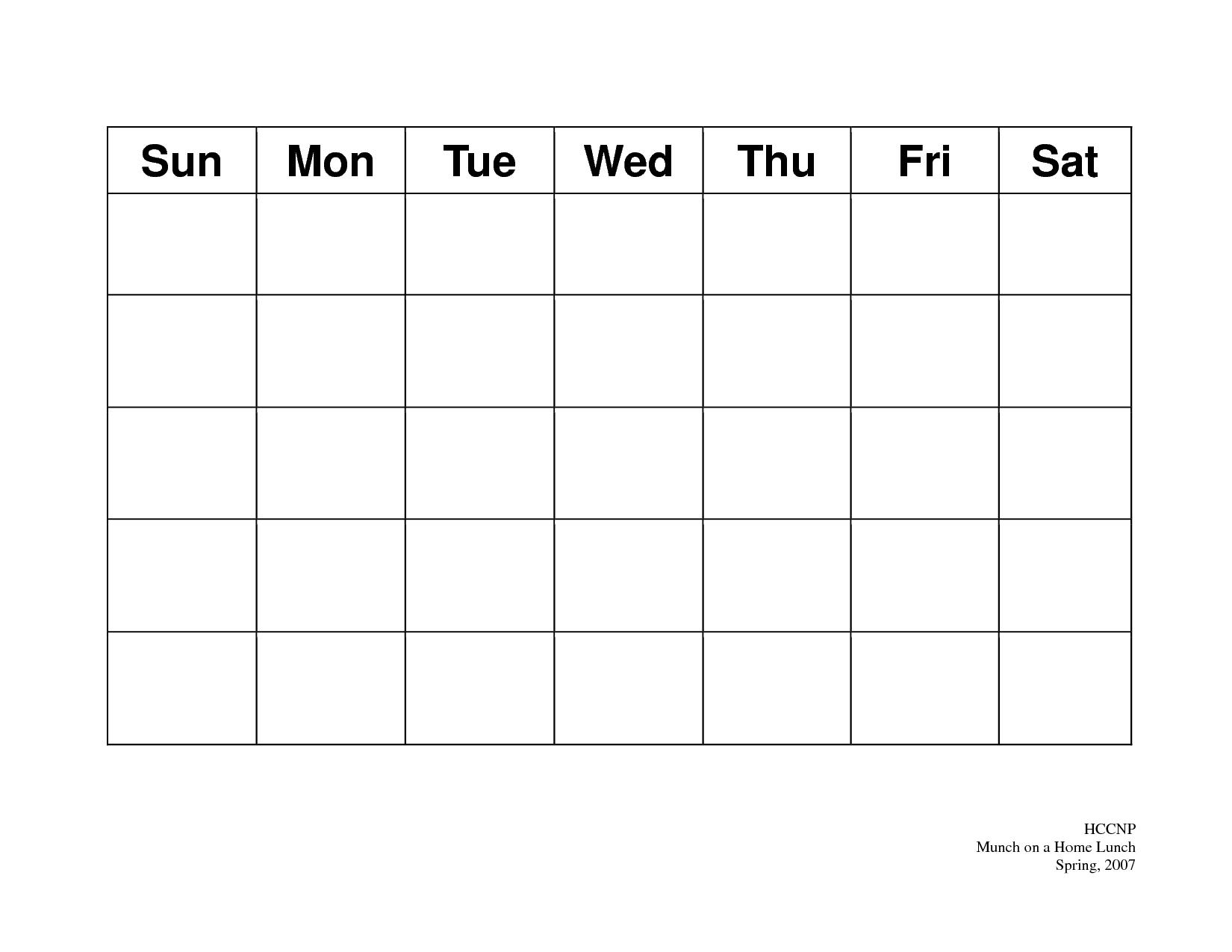 Blank Calendar Layout