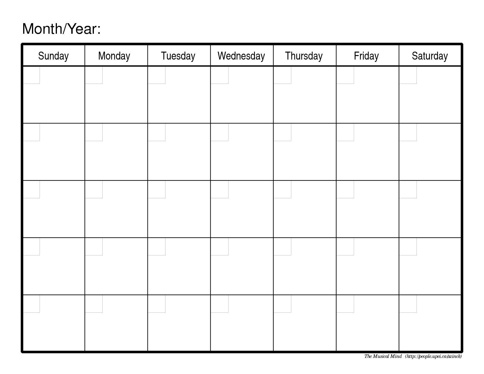 Blank Calendar Microsoft Word