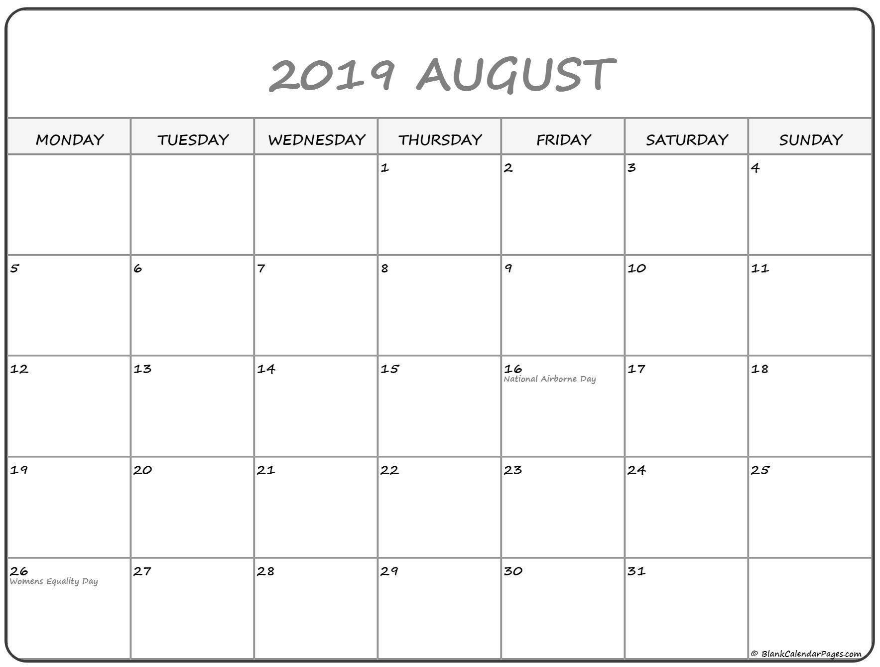 Blank Calendar Monday Through Sunday