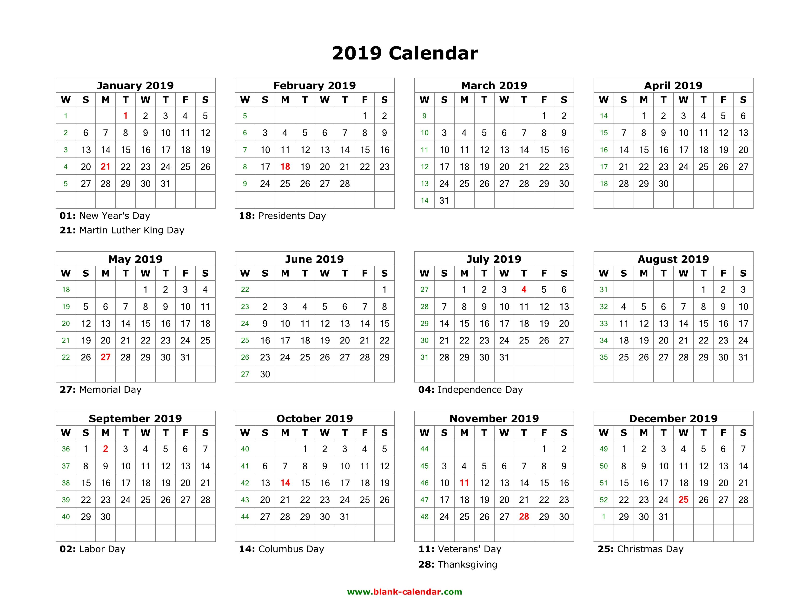 Blank Calendar No Year