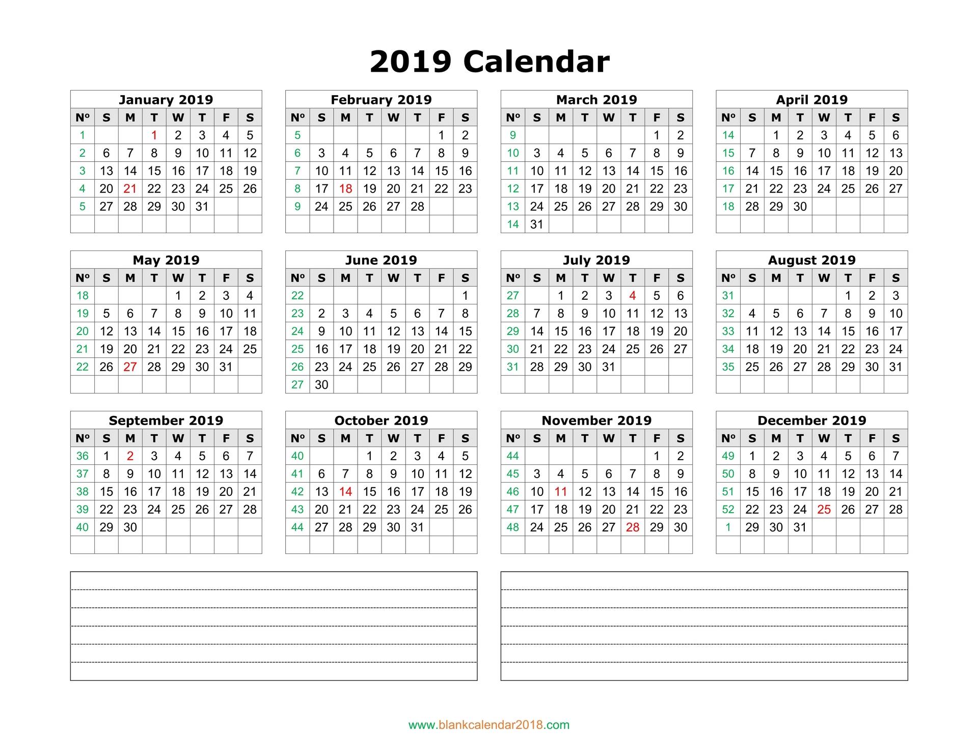Blank Calendar Notes