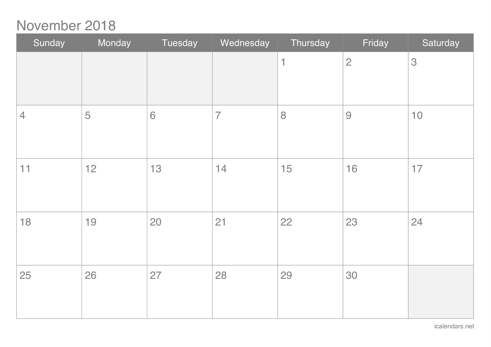 Blank Calendar Nov 18