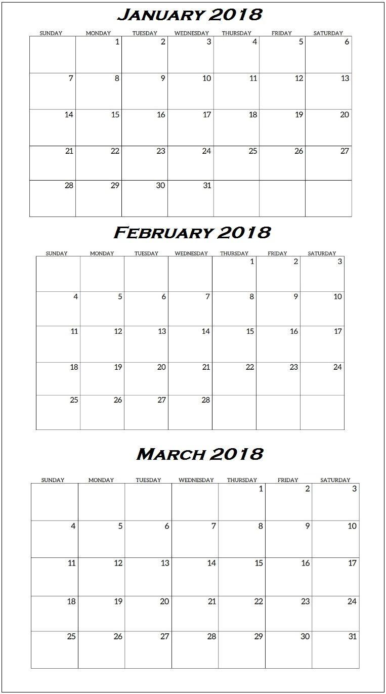 Blank Calendar Quarterly