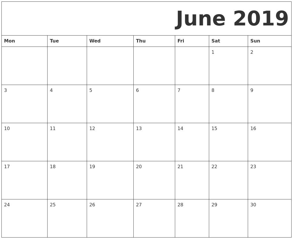Blank Calendar Starting Monday