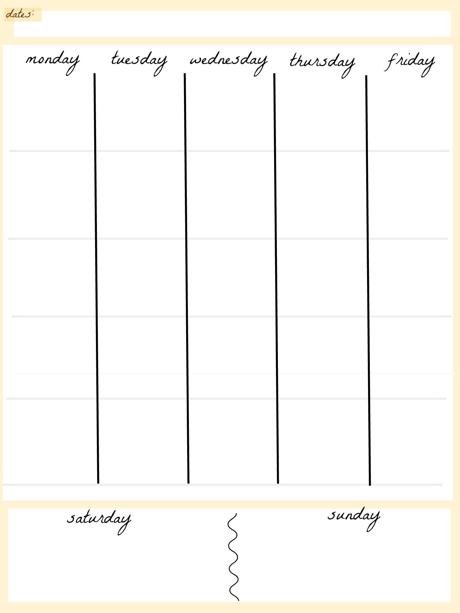 Blank Calendar Template 5 Day Week Weekly Calendar 5 Day Travel Cal1