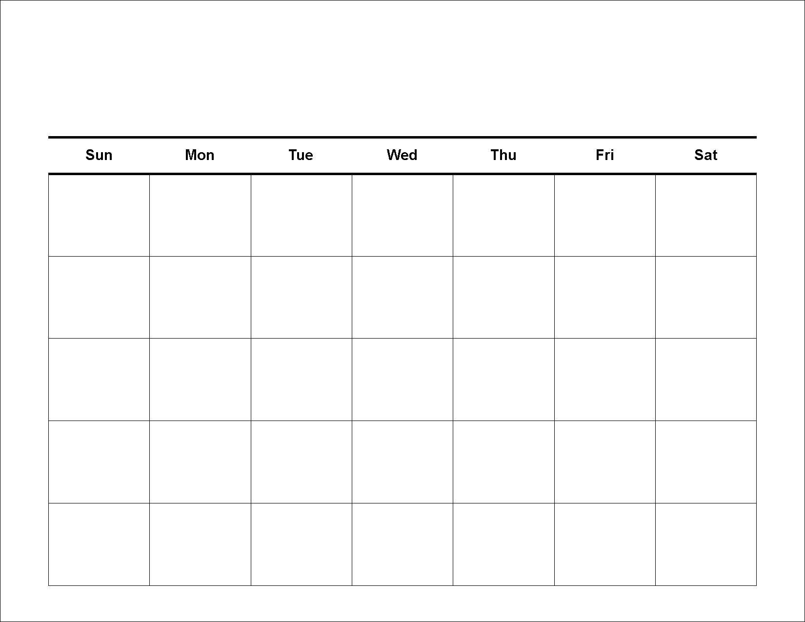 Blank Calendar Template 5 Days