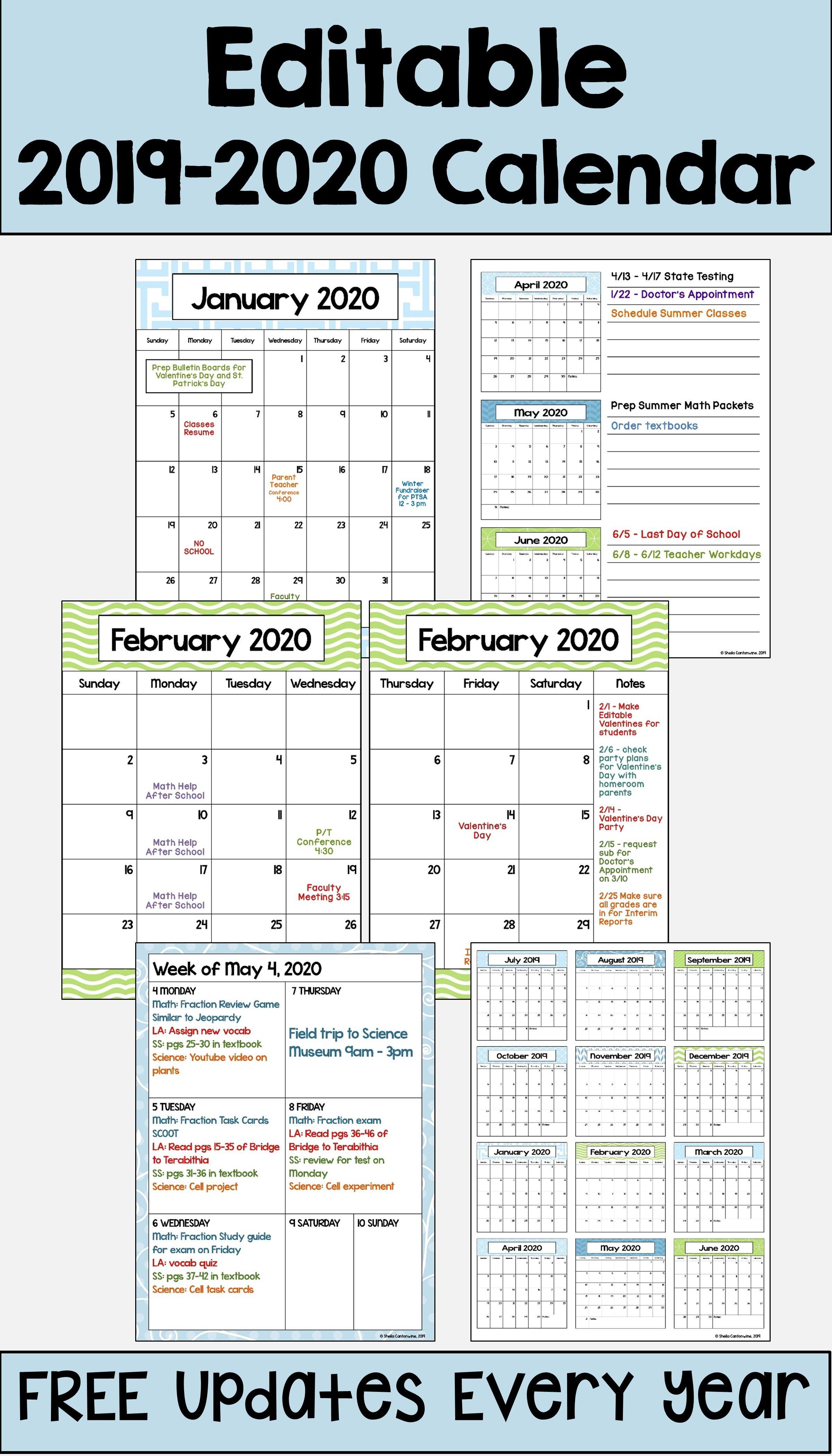 Blank Calendar Template Elementary School