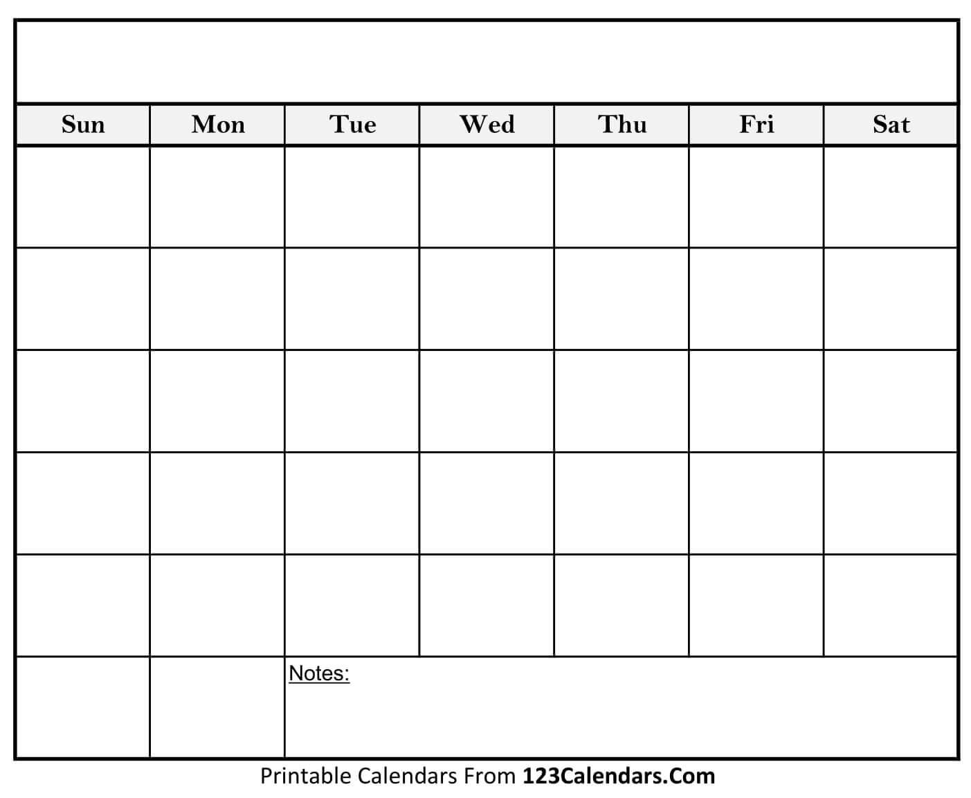 Blank Calendar Template Horizontal