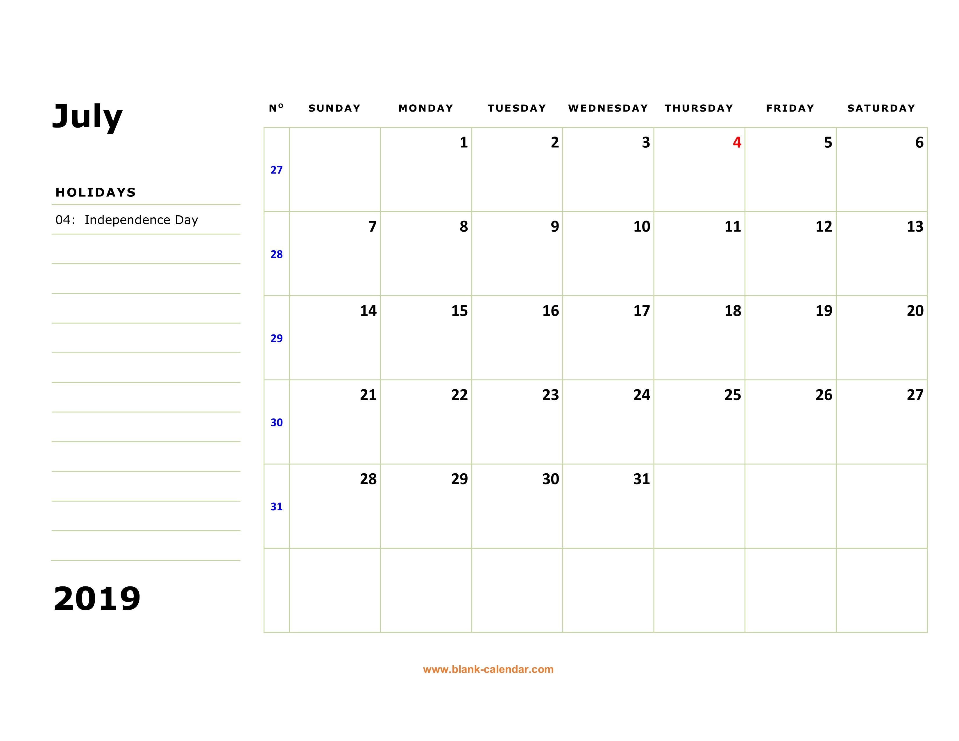 Blank Calendar Template Large