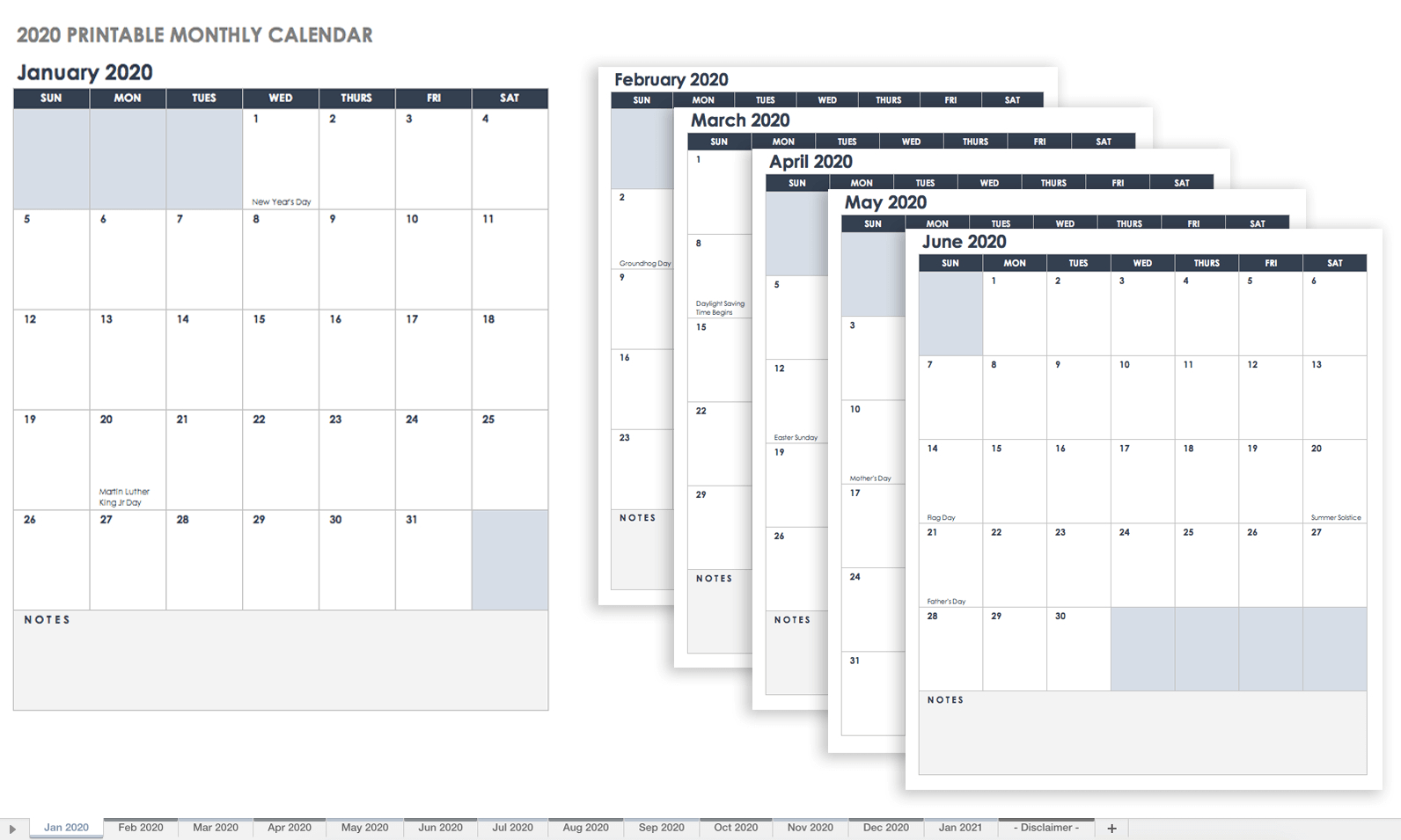 Blank Calendar Template Vertical