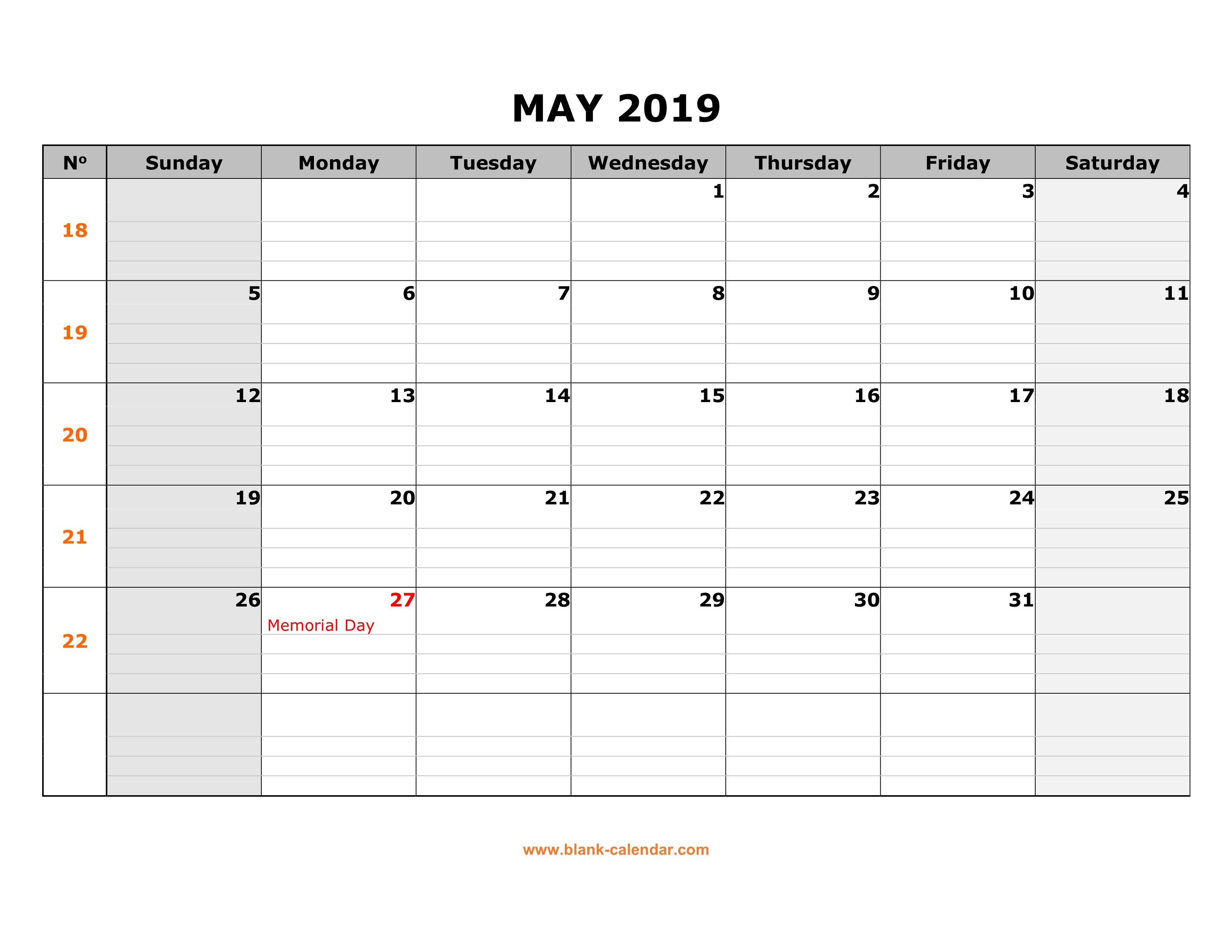 Blank Calendar To Fill In