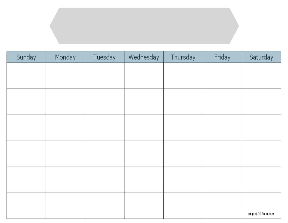 Blank Calendar To Print - Keeping Life Sane