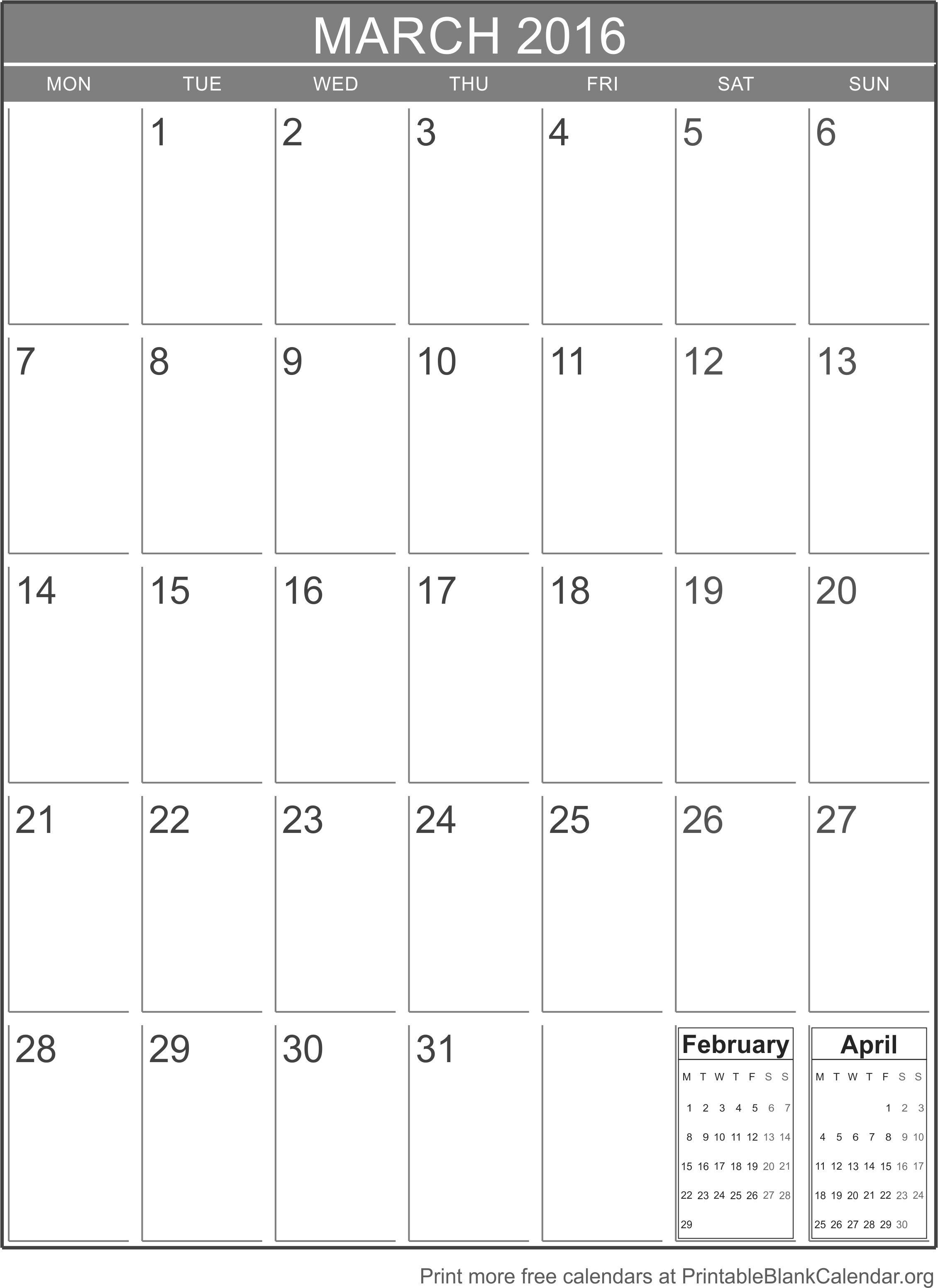 Blank Calendar Vertical