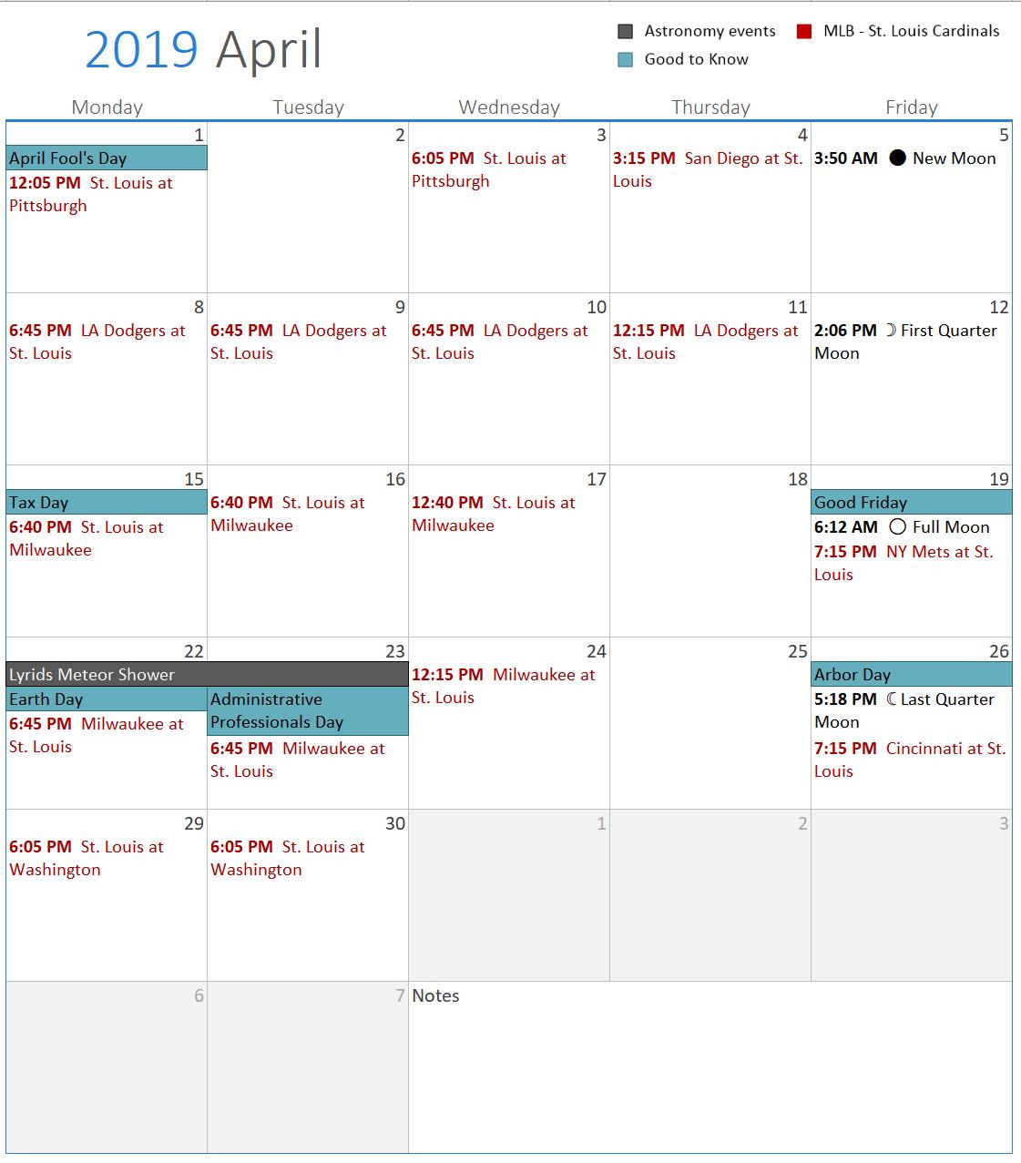 Blank Calendar Weekdays Only