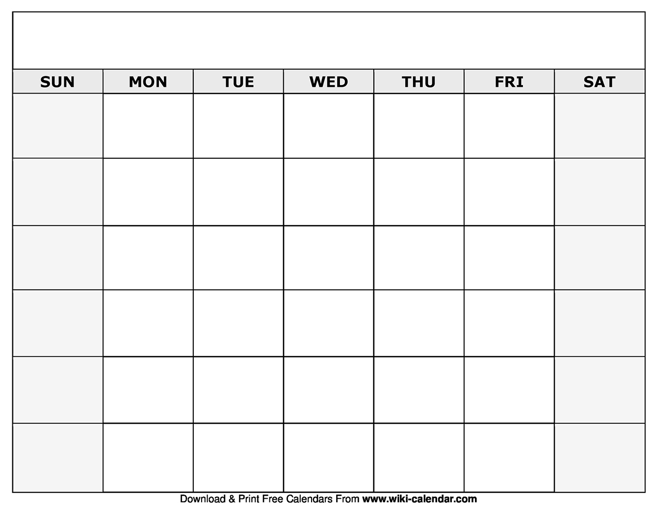 Blank Calendar With Only Weekdays