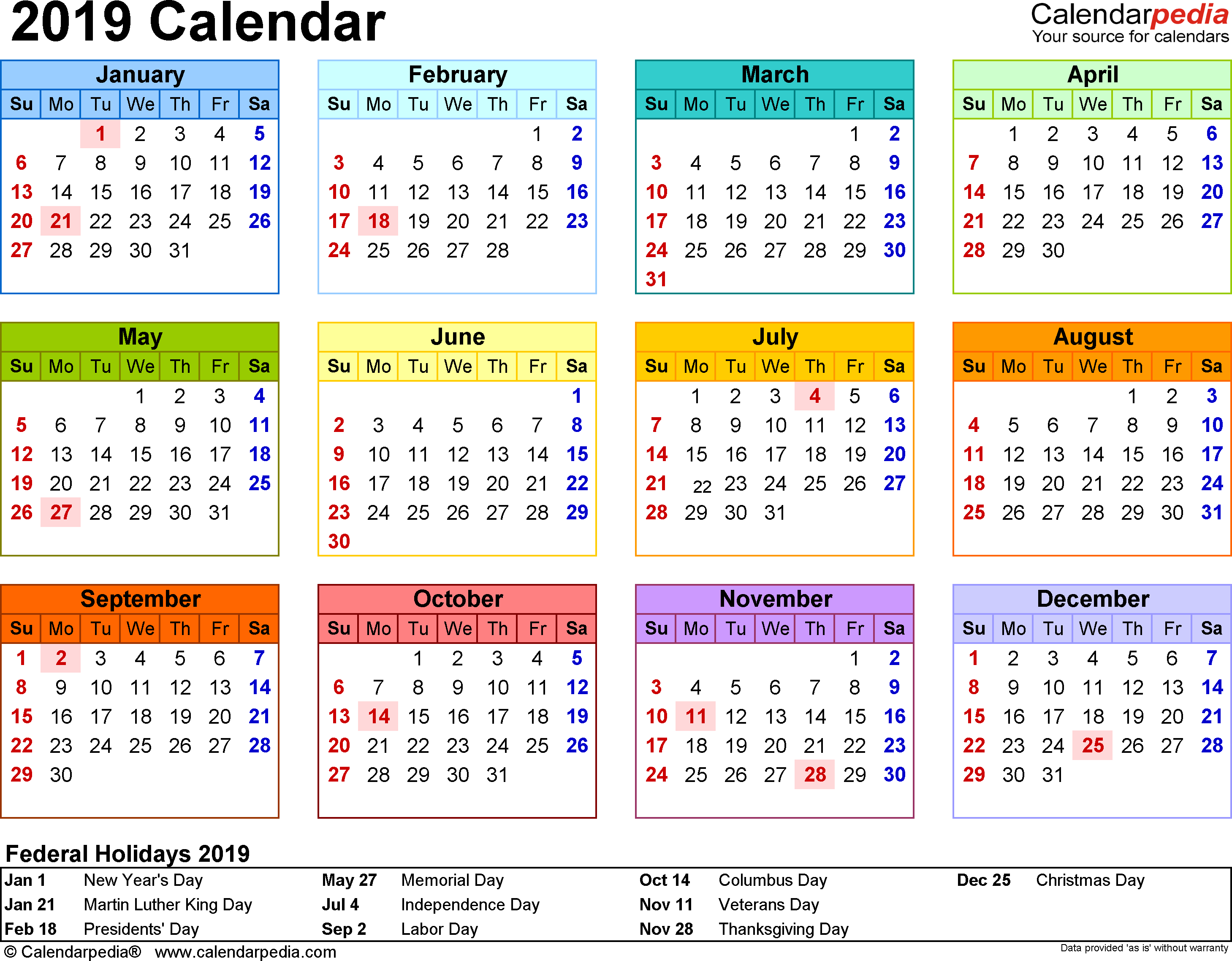 Blank Calendar With Us Holidays