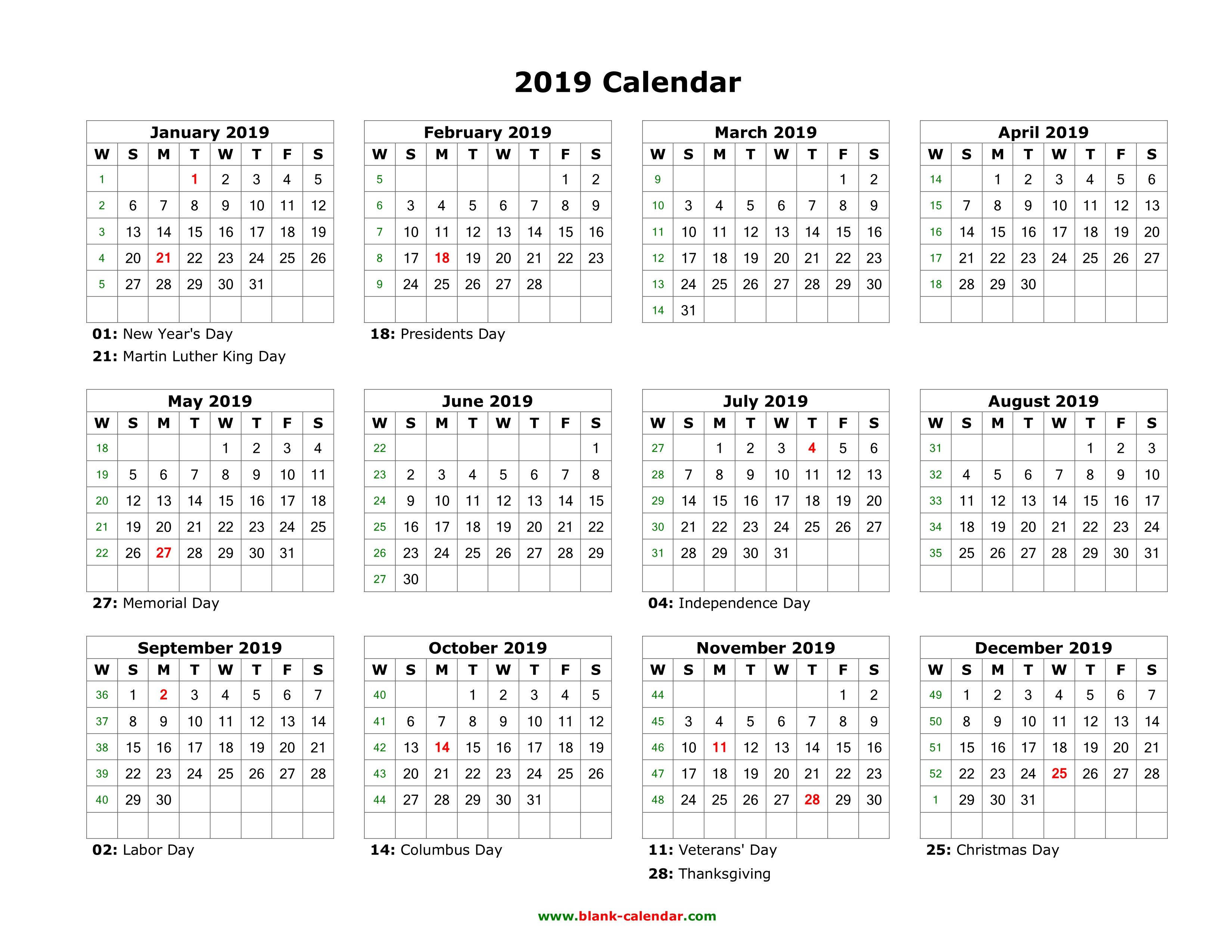Blank Calendar Year Template