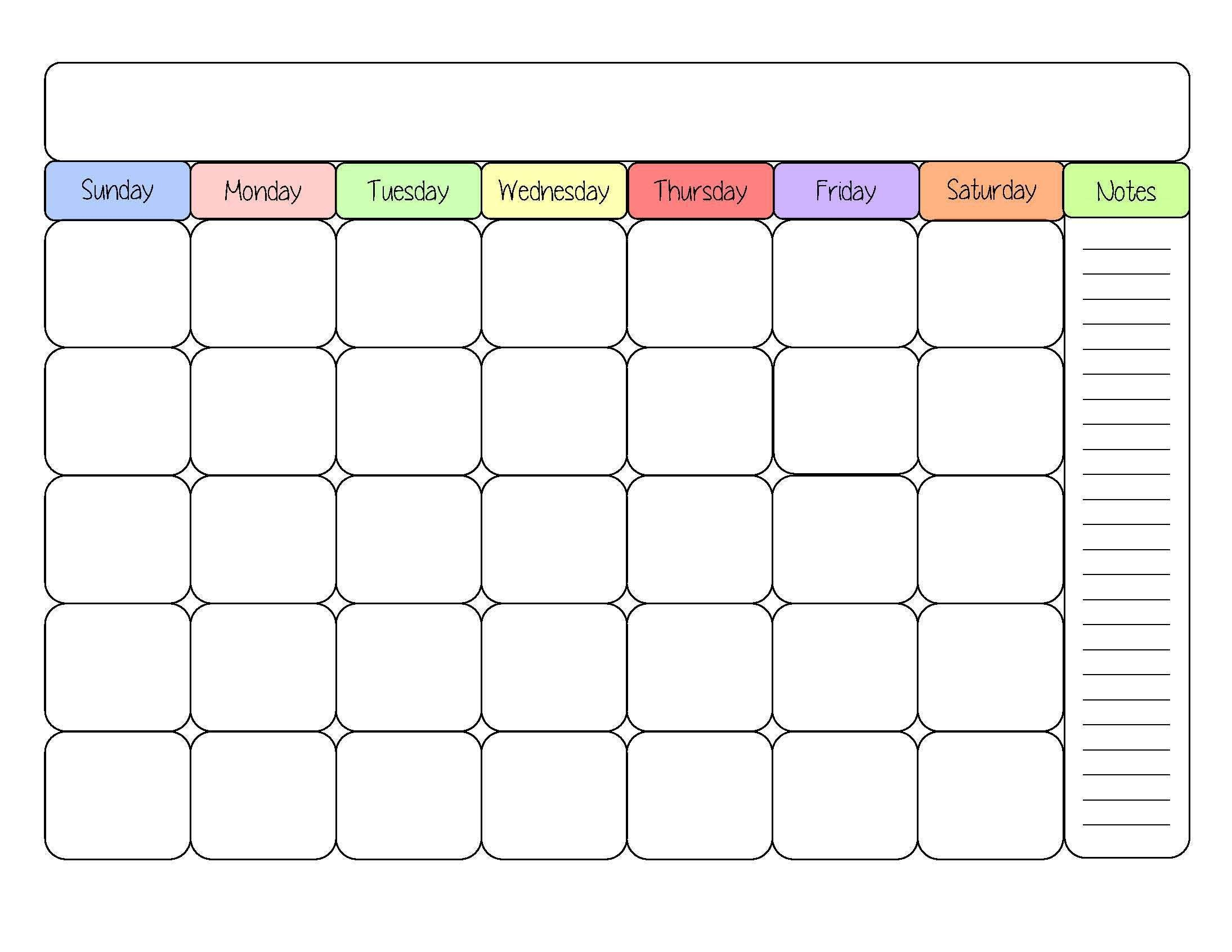 Blank Classroom Calendars Download For Zero Cost - Calendaro.download