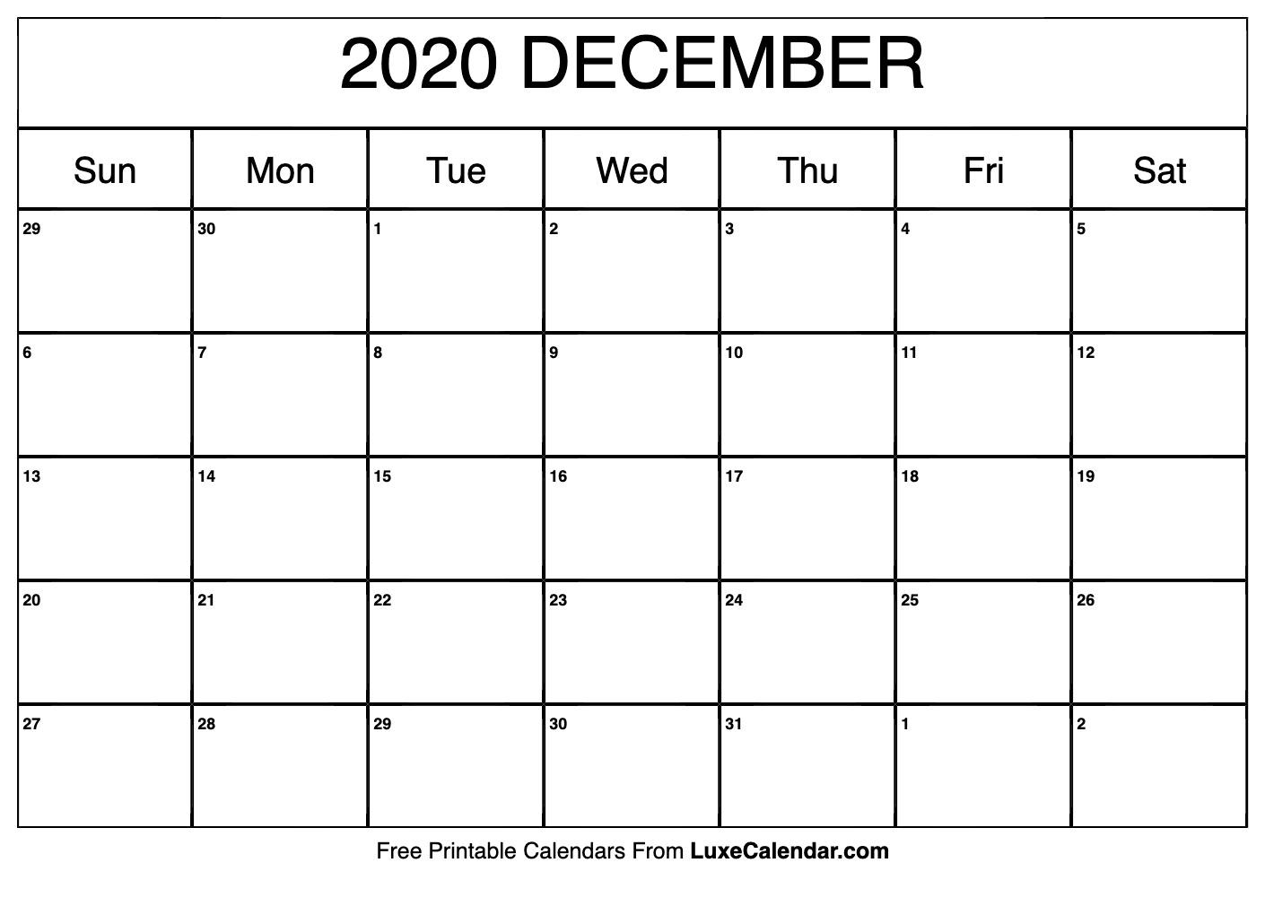 Blank December 2020 Calendar Printable - Luxe Calendar